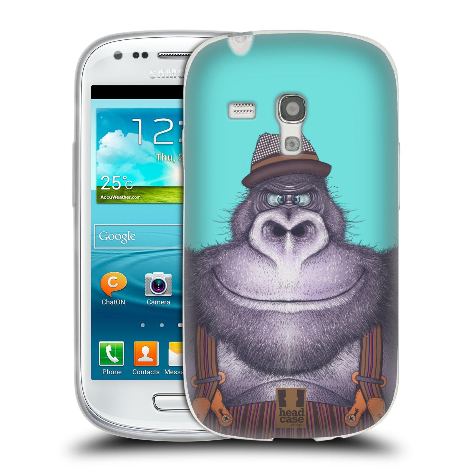 Silikonové pouzdro na mobil Samsung Galaxy S III Mini HEAD CASE ANIMPLA GORILÁK (Silikonový kryt či obal na mobilní telefon Samsung Galaxy S III Mini GT-i8190)
