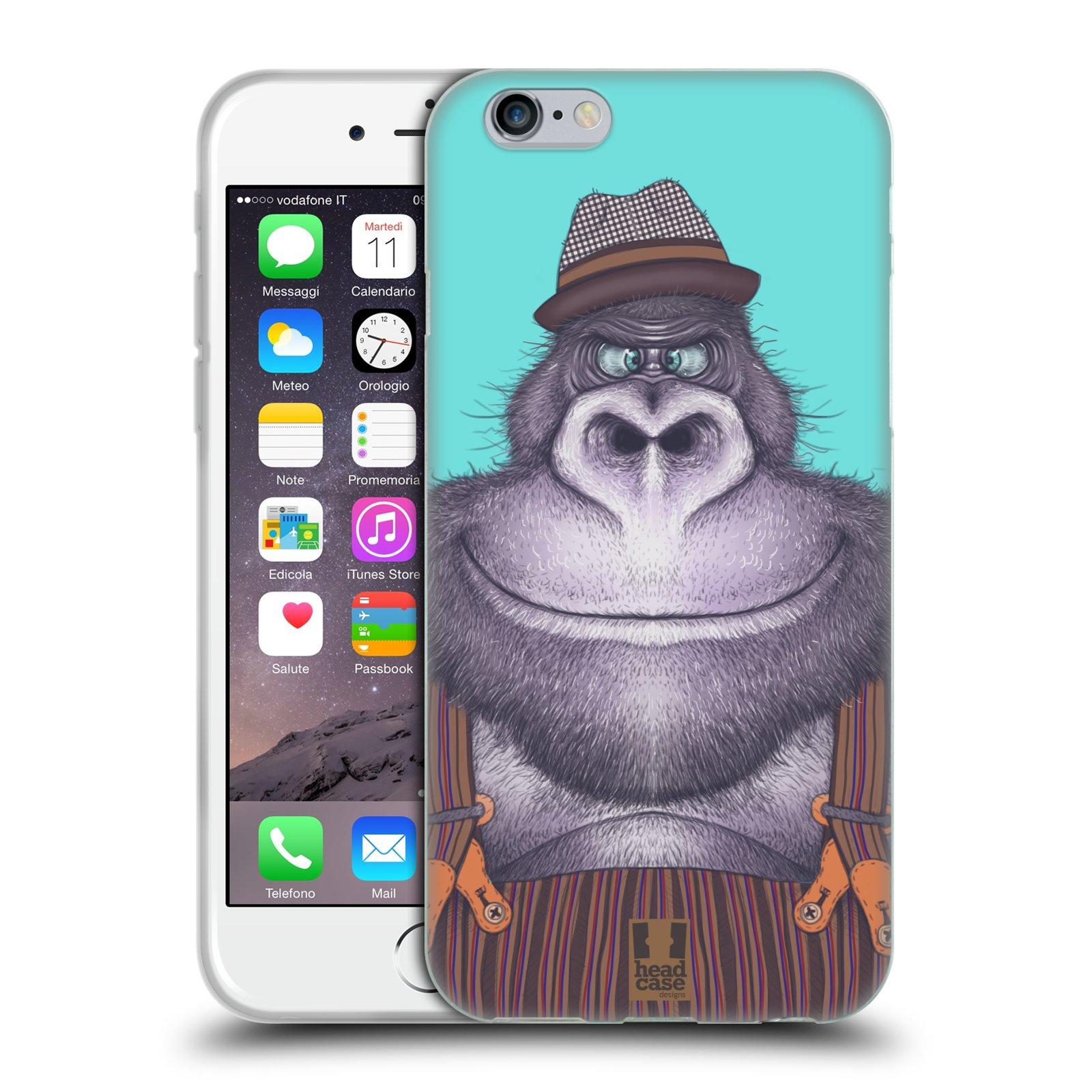 Silikonové pouzdro na mobil Apple iPhone 6 a 6S HEAD CASE ANIMPLA GORILÁK