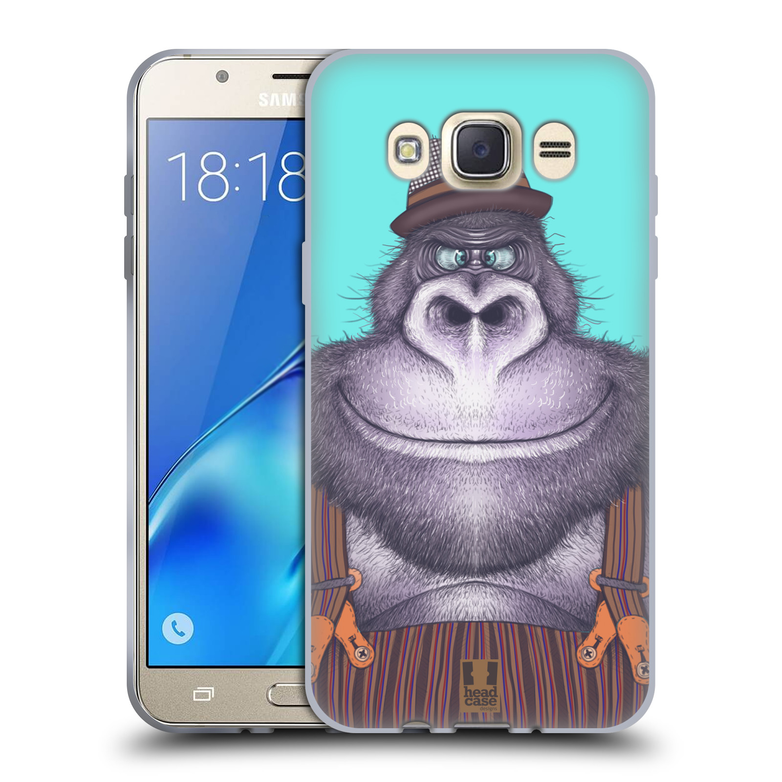 Silikonové pouzdro na mobil Samsung Galaxy J7 (2016) HEAD CASE ANIMPLA GORILÁK