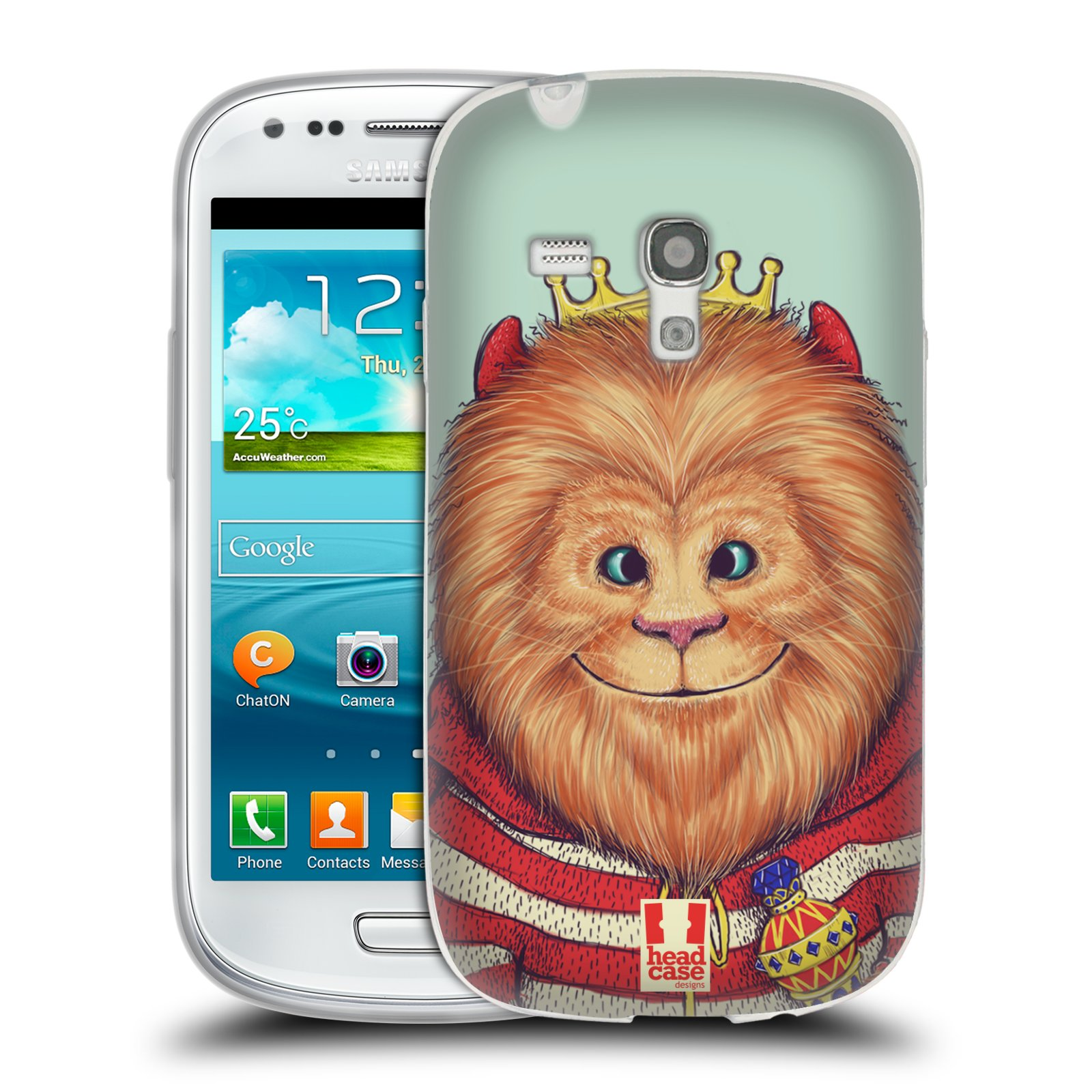 Silikonové pouzdro na mobil Samsung Galaxy S III Mini HEAD CASE ANIMPLA LVÍČEK (Silikonový kryt či obal na mobilní telefon Samsung Galaxy S III Mini GT-i8190)