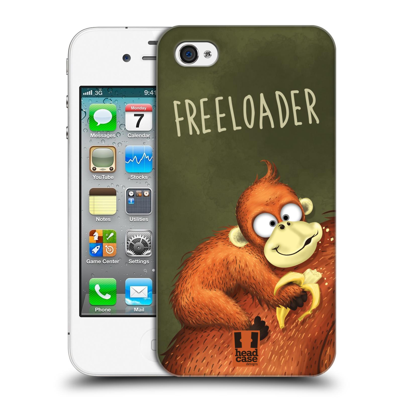 Plastové pouzdro na mobil Apple iPhone 4 a 4S HEAD CASE Opičák Freeloader