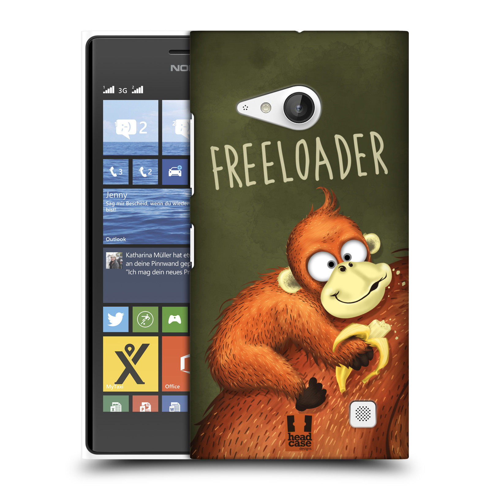 Plastové pouzdro na mobil Nokia Lumia 730 Dual SIM HEAD CASE Opičák Freeloader (Kryt či obal na mobilní telefon Nokia Lumia 730 Dual SIM)