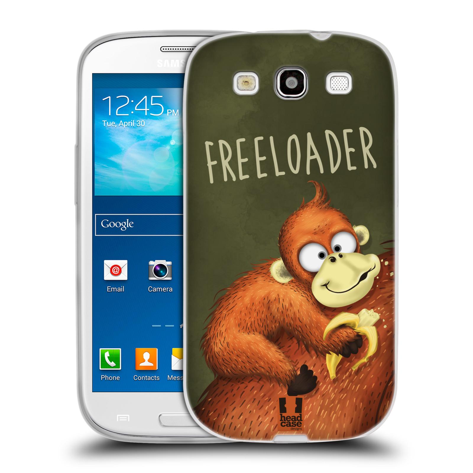 Silikonové pouzdro na mobil Samsung Galaxy S III HEAD CASE Opičák Freeloader