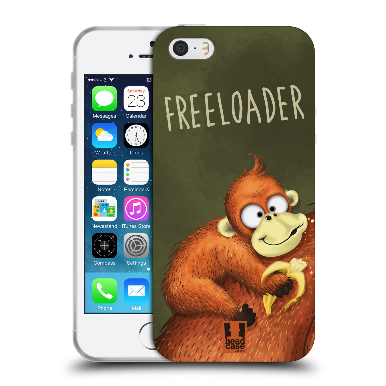 Silikonové pouzdro na mobil Apple iPhone SE, 5 a 5S HEAD CASE Opičák Freeloader (Silikonový kryt či obal na mobilní telefon Apple iPhone SE, 5 a 5S)