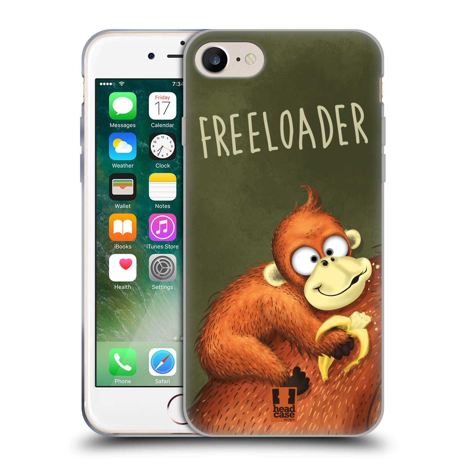 Silikonové pouzdro na mobil Apple iPhone 8 - Head Case - Opičák Freeloader