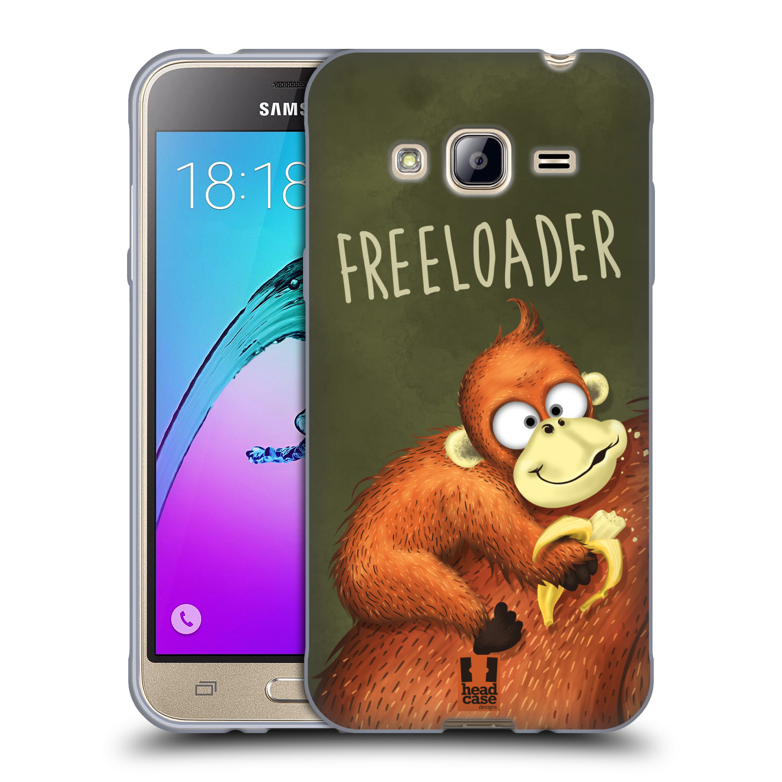 Silikonové pouzdro na mobil Samsung Galaxy J3 (2016) HEAD CASE Opičák Freeloader