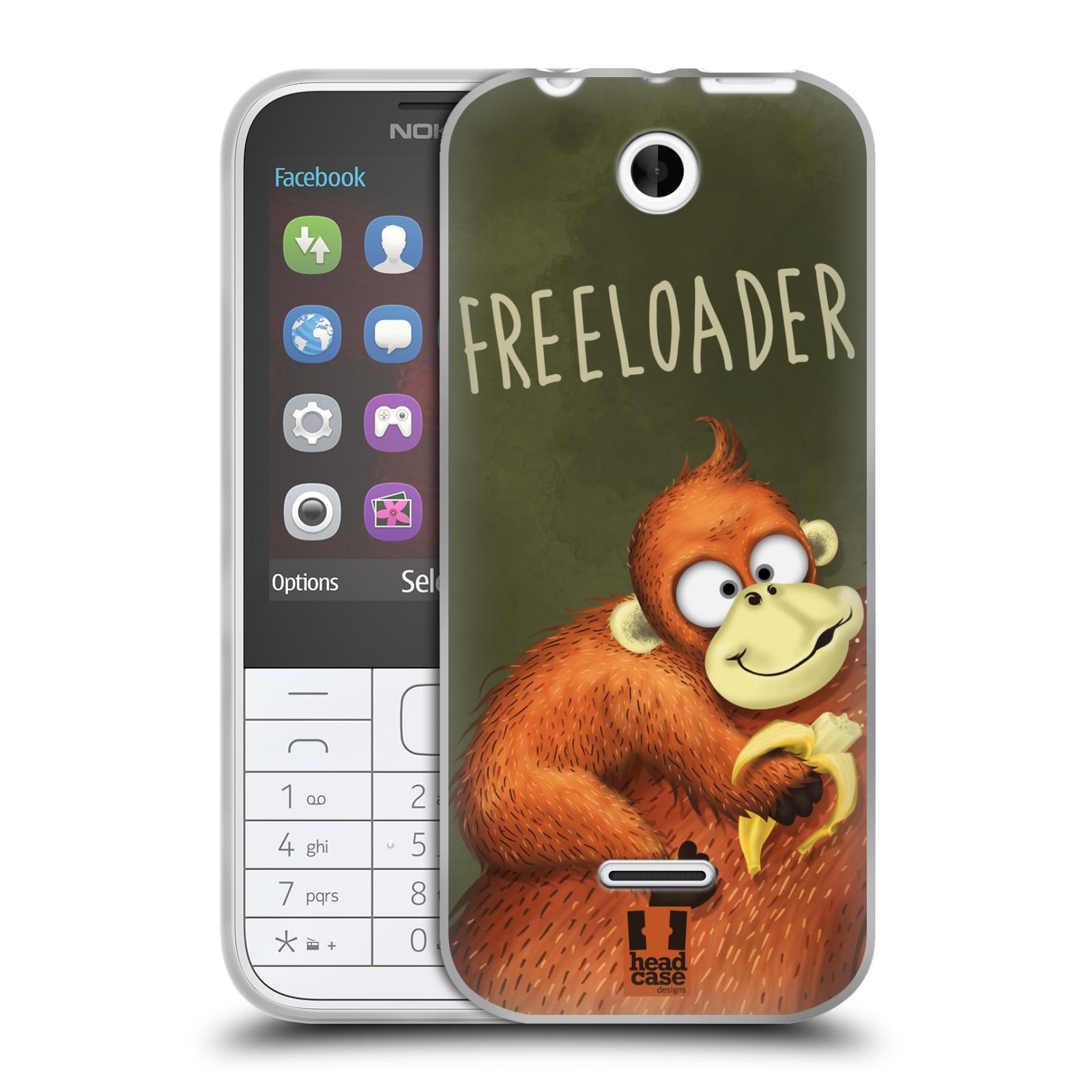 Silikonové pouzdro na mobil Nokia 225 HEAD CASE Opičák Freeloader (Silikonový kryt či obal na mobilní telefon Nokia 225)