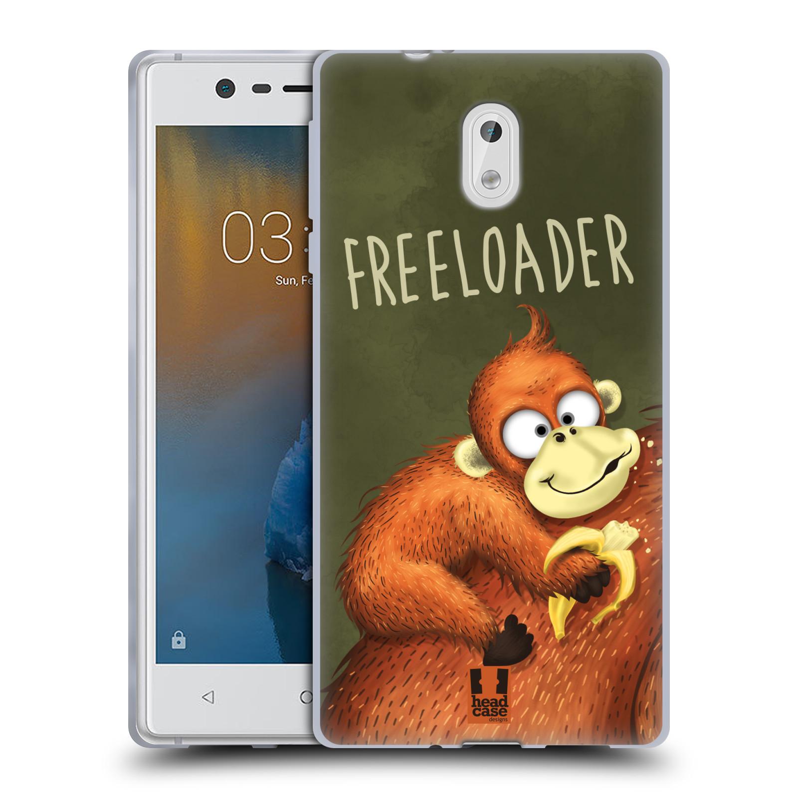 Silikonové pouzdro na mobil Nokia 3 Head Case - Opičák Freeloader