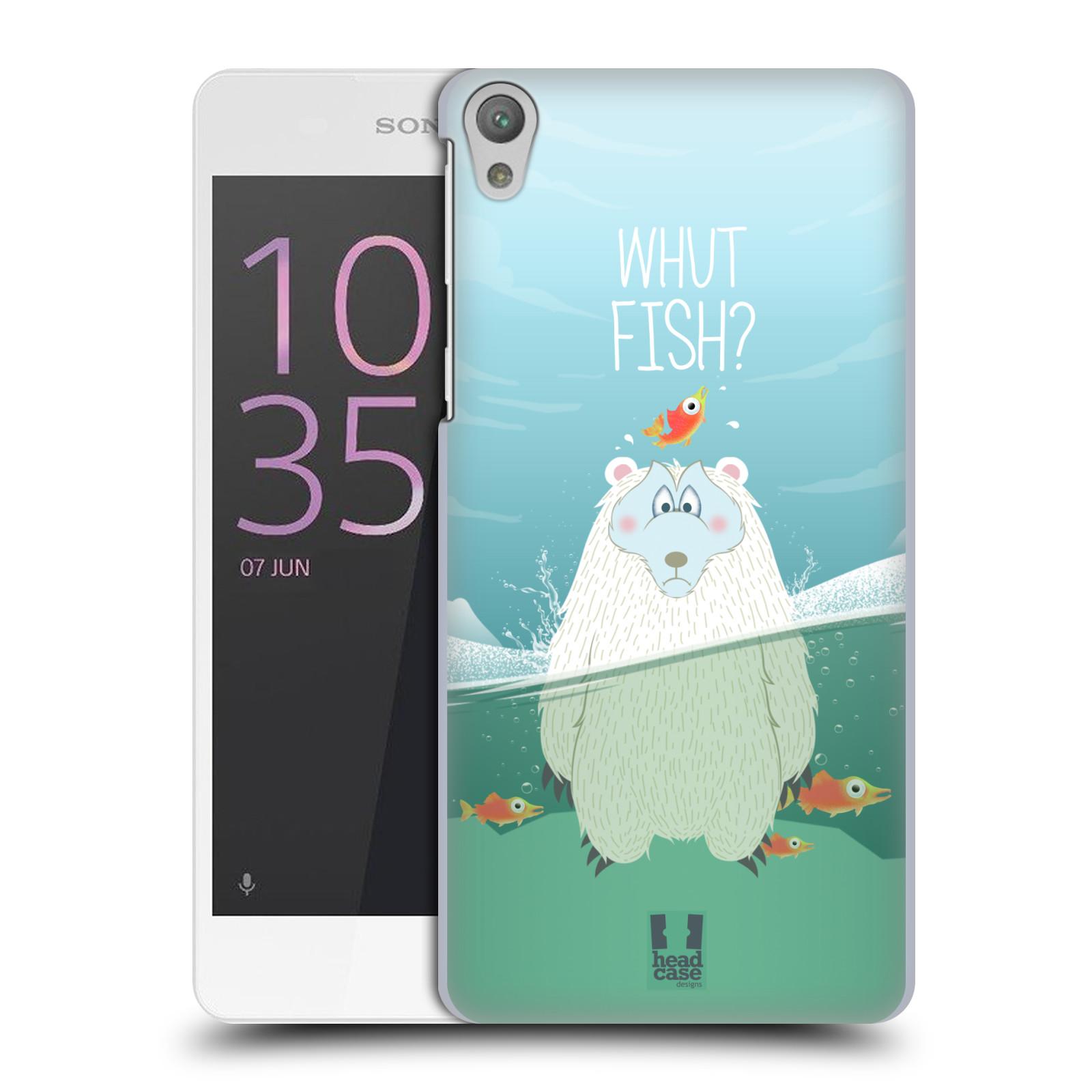 Plastové pouzdro na mobil Sony Xperia E5 HEAD CASE Medvěd Whut Fish?