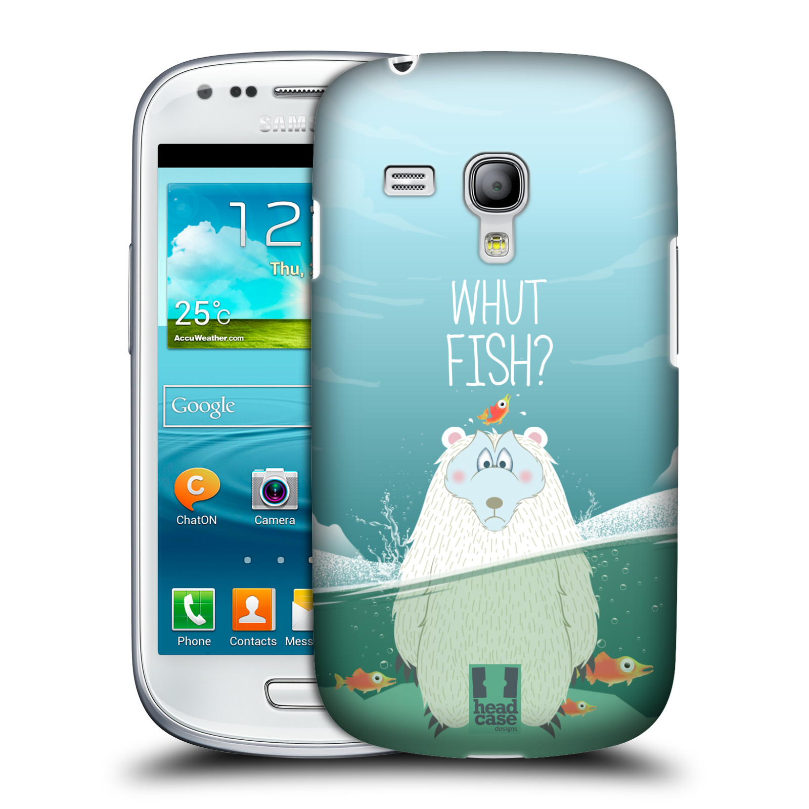 Plastové pouzdro na mobil Samsung Galaxy S III Mini HEAD CASE Medvěd Whut Fish? (Kryt či obal na mobilní telefon Samsung Galaxy S III Mini GT-i8190)