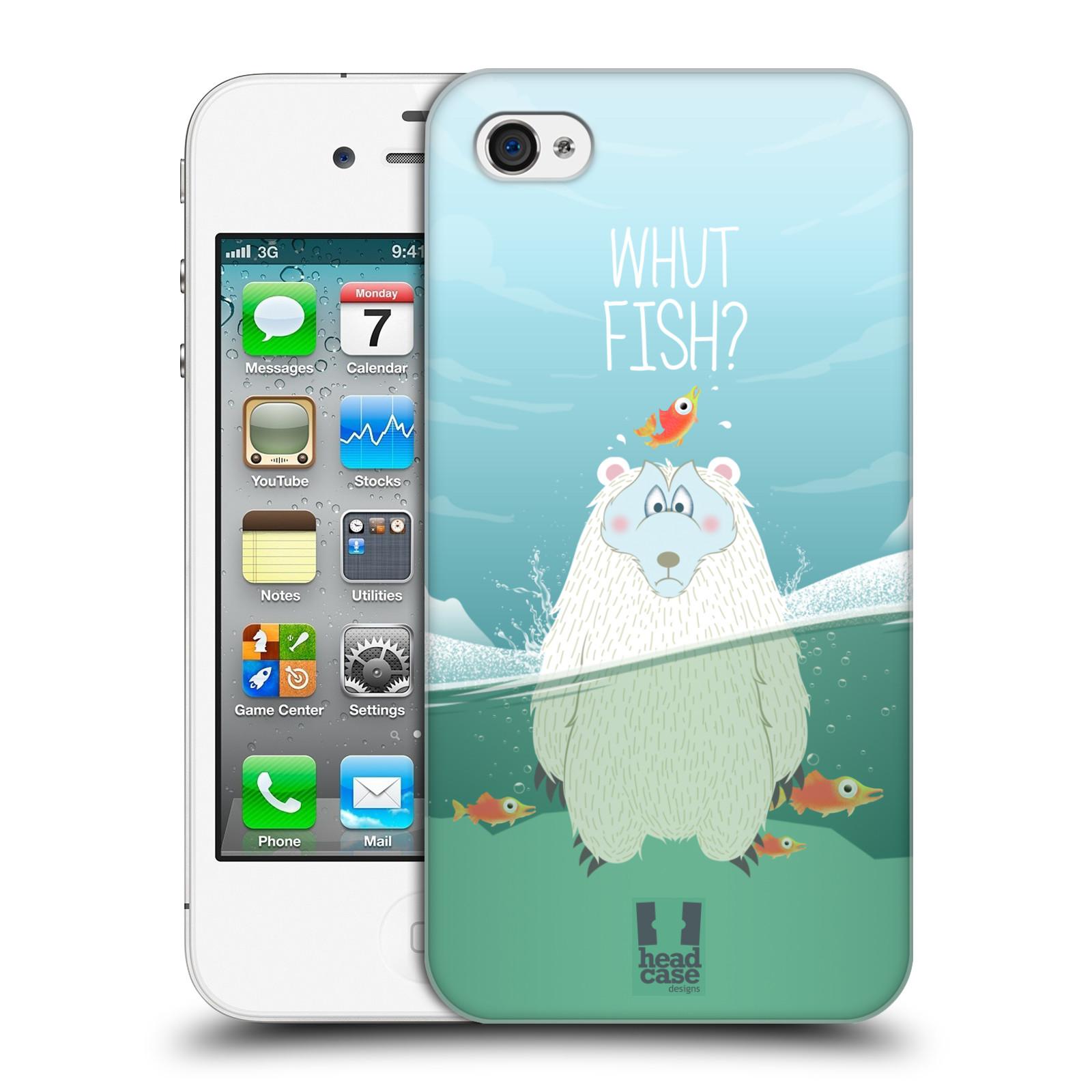 Plastové pouzdro na mobil Apple iPhone 4 a 4S HEAD CASE Medvěd Whut Fish?