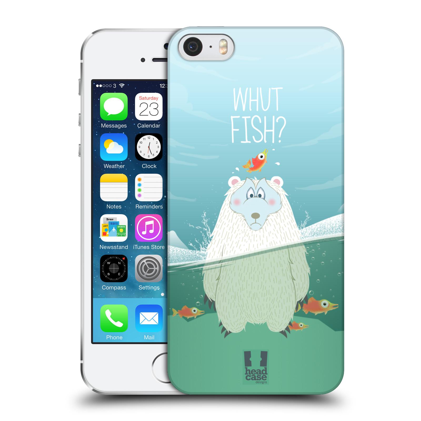 Plastové pouzdro na mobil Apple iPhone SE, 5 a 5S HEAD CASE Medvěd Whut Fish?