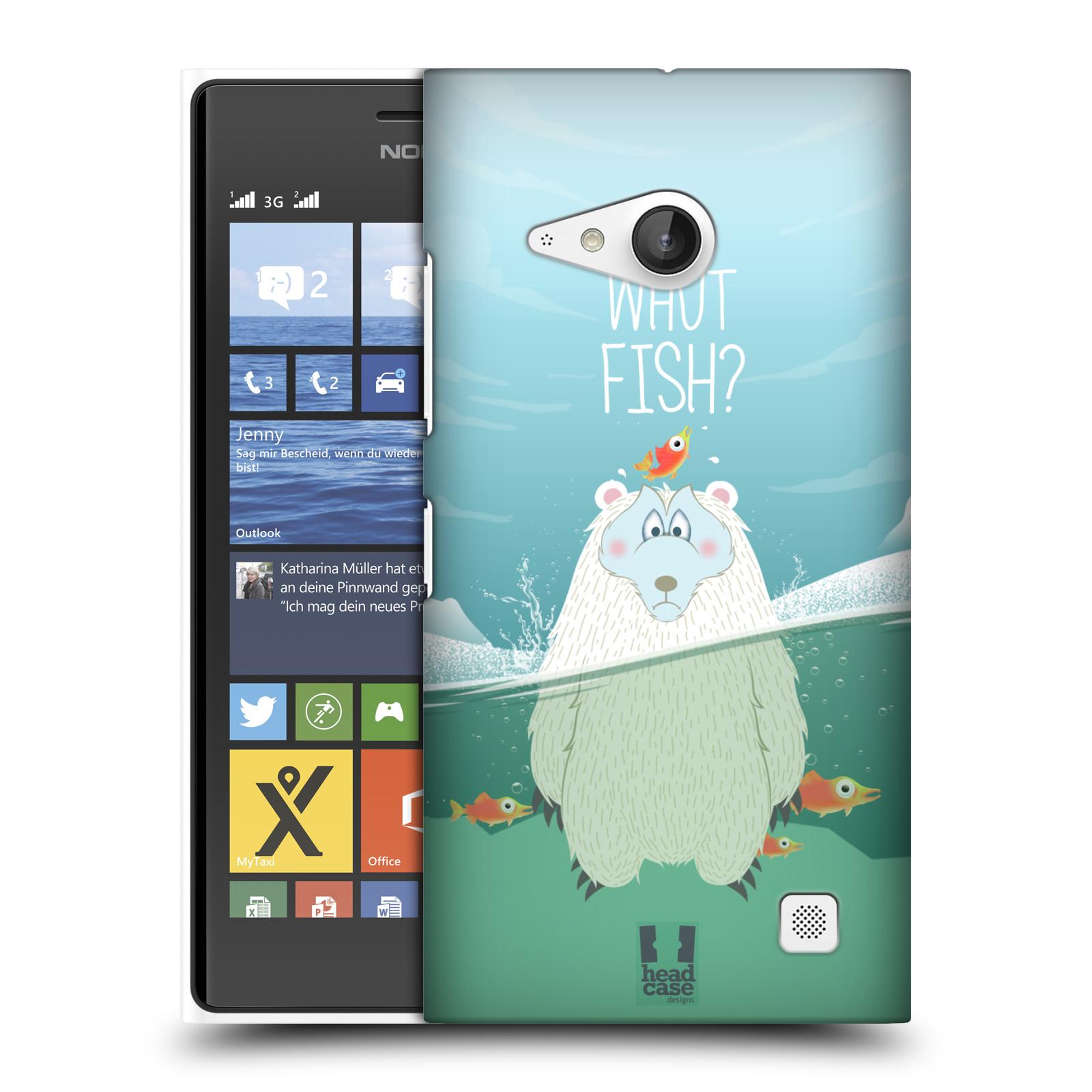 Plastové pouzdro na mobil Nokia Lumia 730 Dual SIM HEAD CASE Medvěd Whut Fish? (Kryt či obal na mobilní telefon Nokia Lumia 730 Dual SIM)