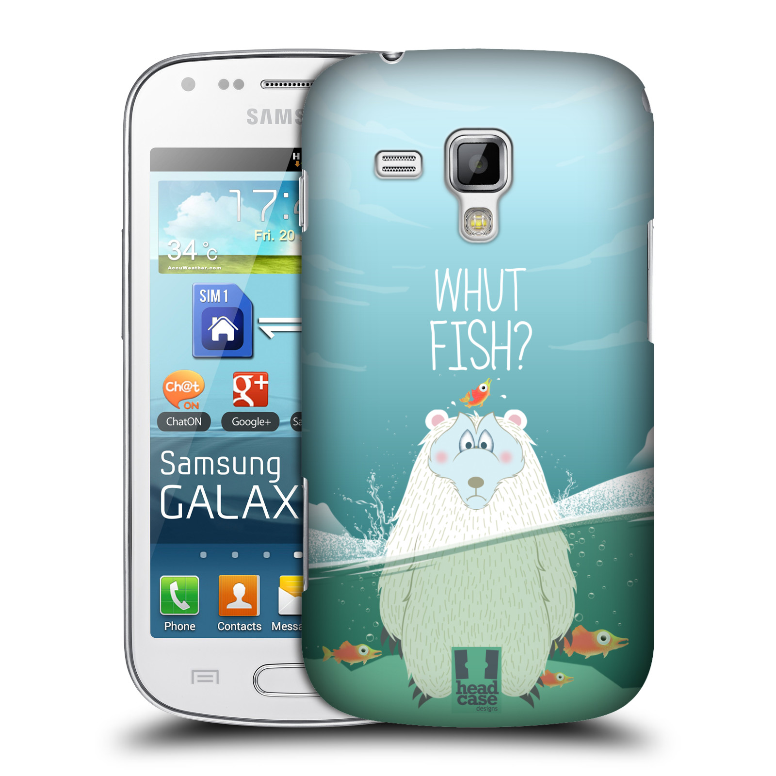 Plastové pouzdro na mobil Samsung Galaxy S Duos HEAD CASE Medvěd Whut Fish? (Kryt či obal na mobilní telefon Samsung Galaxy S Duos GT-S7562)