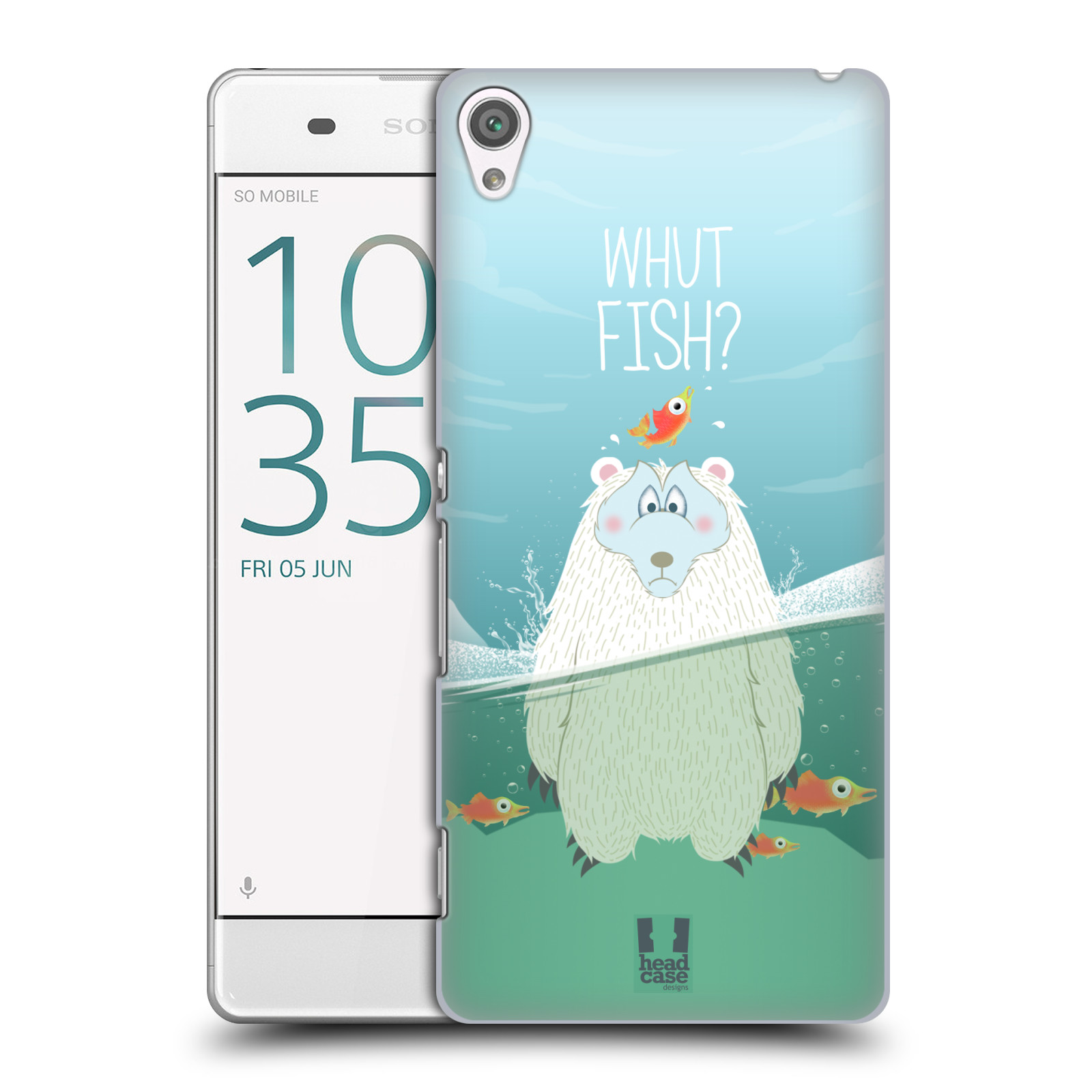 Plastové pouzdro na mobil Sony Xperia XA HEAD CASE Medvěd Whut Fish?