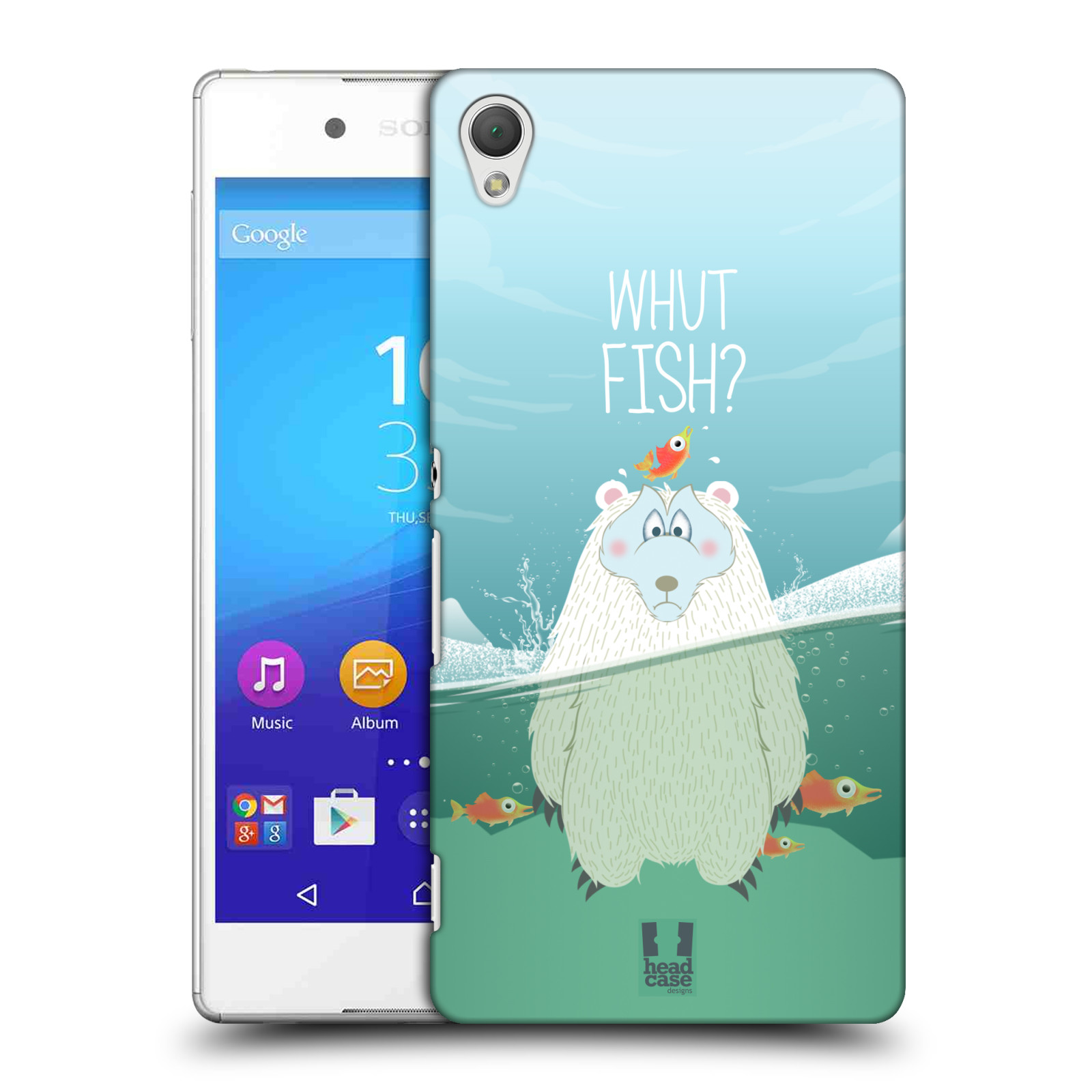 Plastové pouzdro na mobil Sony Xperia Z3+ (Plus) HEAD CASE Medvěd Whut Fish? (Kryt či obal na mobilní telefon Sony Xperia Z3+ a Sony Xperia Z4 )