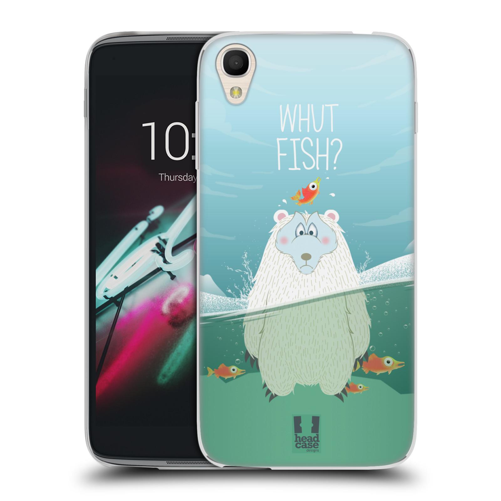 """Silikonové pouzdro na mobil Alcatel One Touch 6039Y Idol 3 HEAD CASE Medvěd Whut Fish? (Silikonový kryt či obal na mobilní telefon Alcatel One Touch Idol 3 OT-6039Y s 4,7"""" displejem)"""