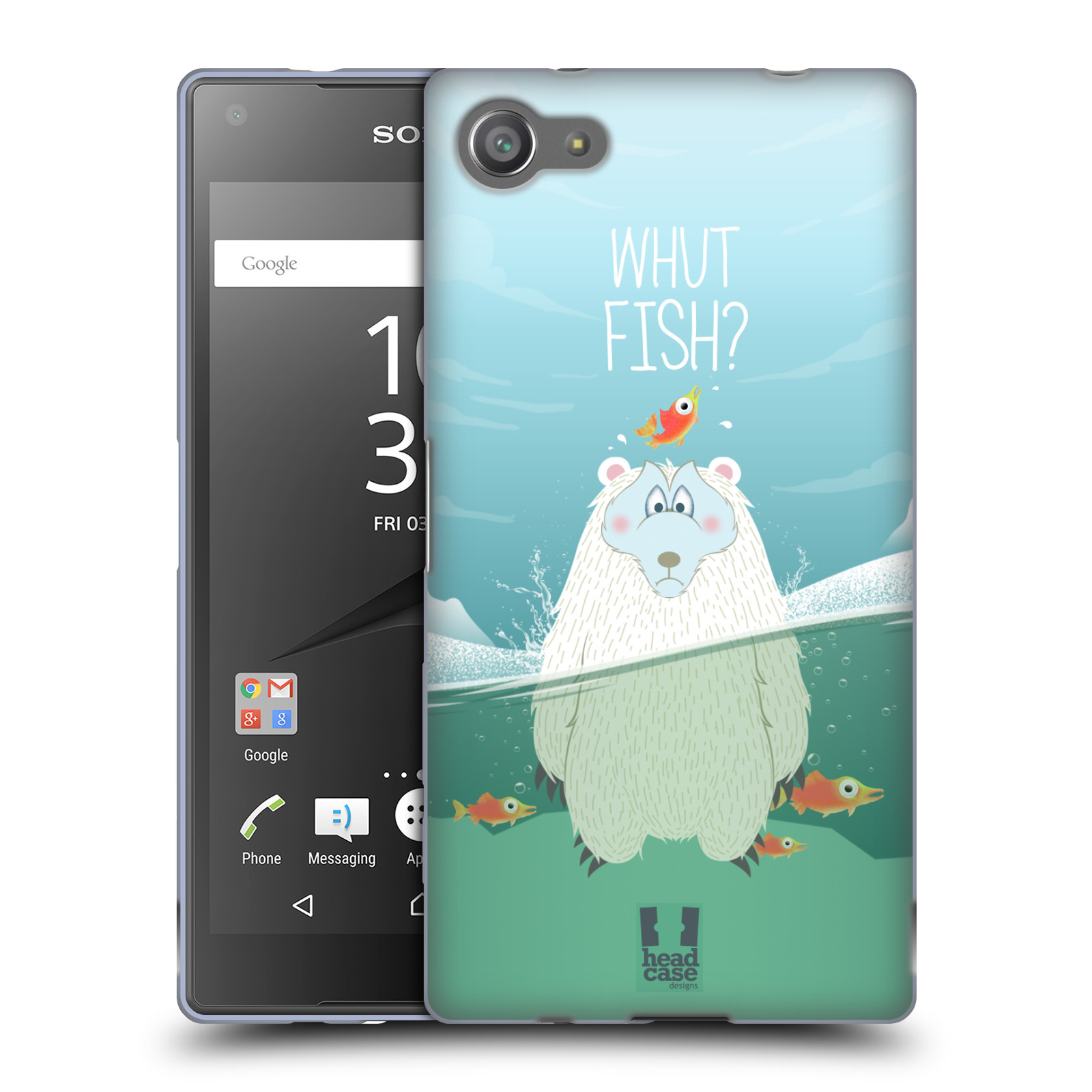 Silikonové pouzdro na mobil Sony Xperia Z5 Compact HEAD CASE Medvěd Whut Fish?