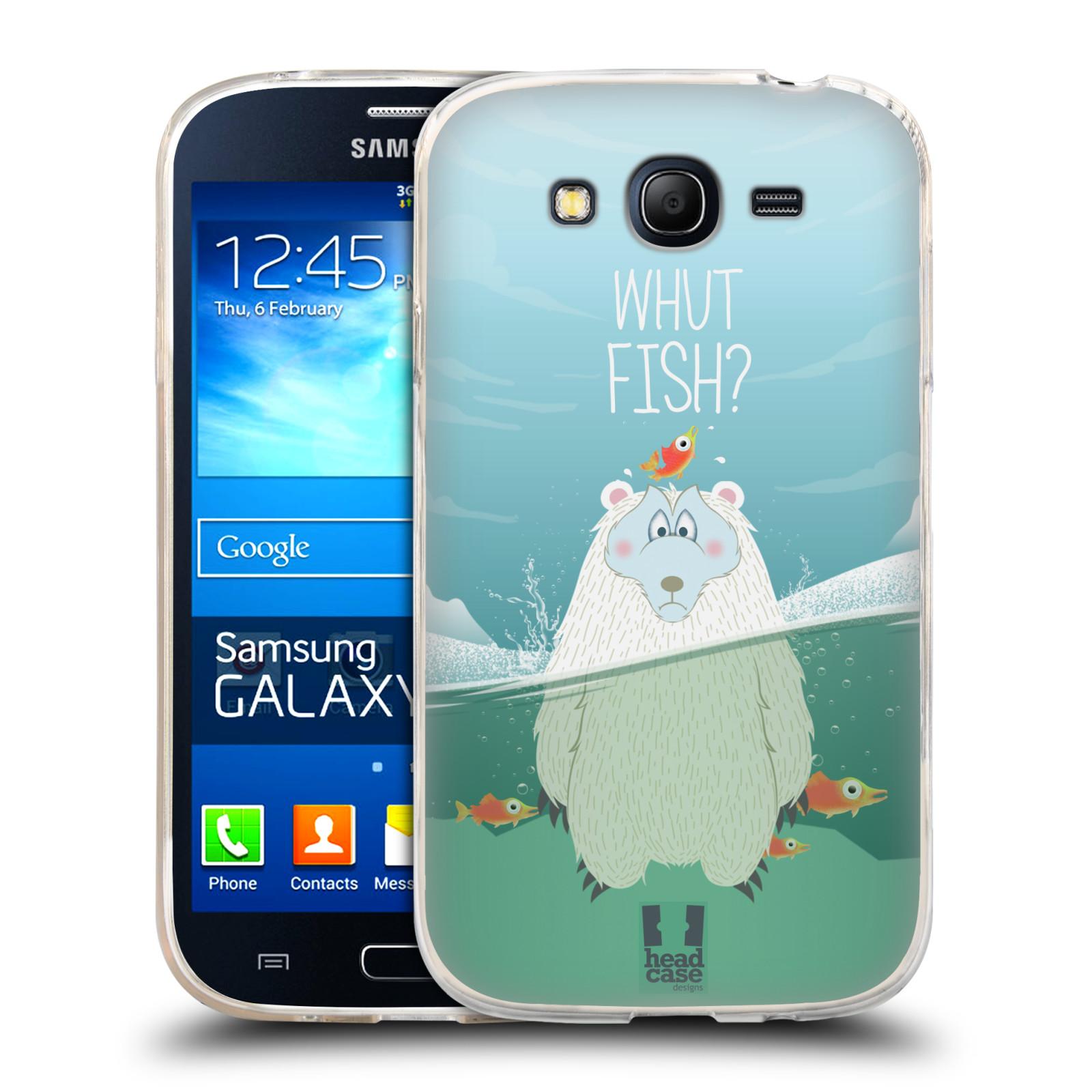 Silikonové pouzdro na mobil Samsung Galaxy Grand Neo Plus HEAD CASE Medvěd Whut Fish?
