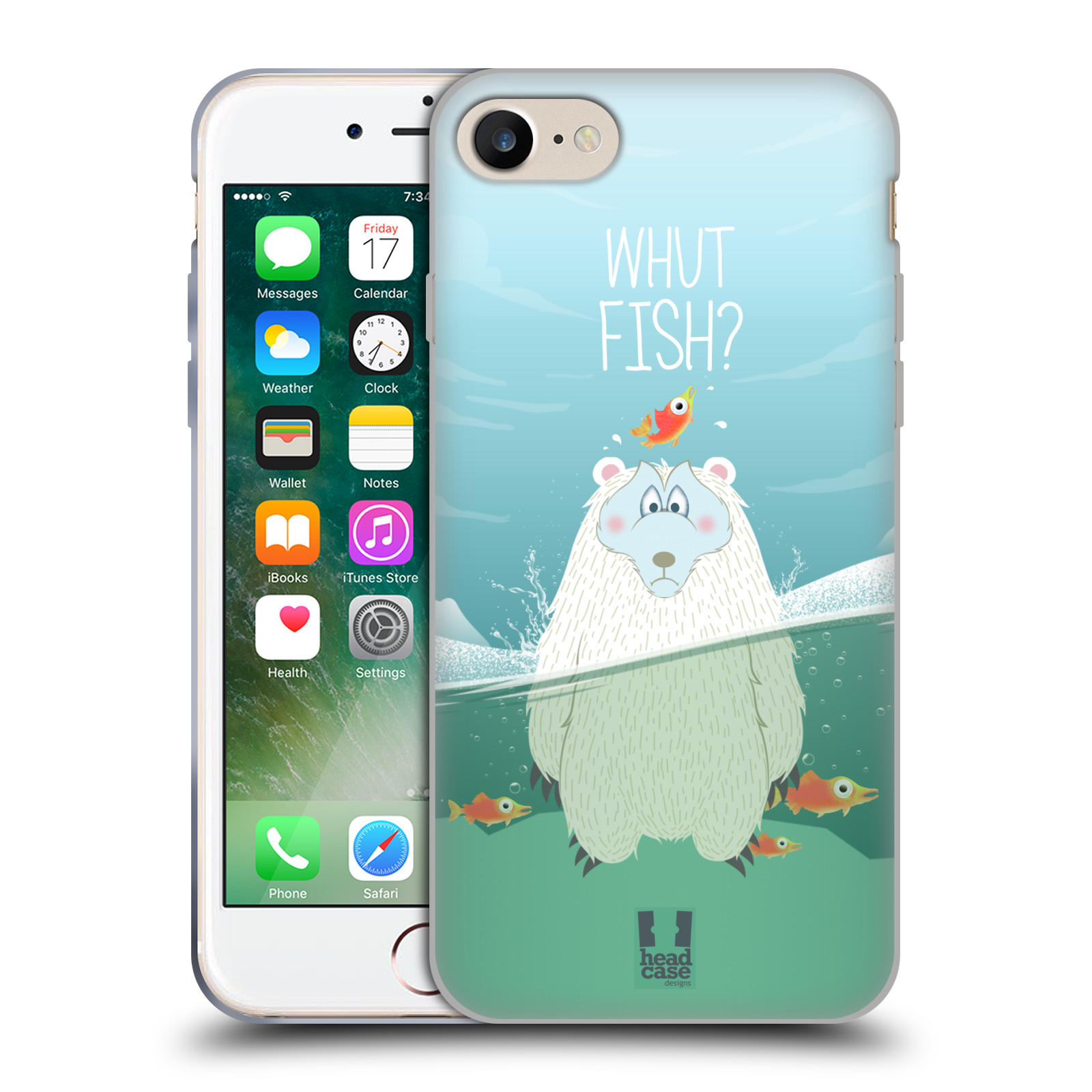 Silikonové pouzdro na mobil Apple iPhone 8 - Head Case - Medvěd Whut Fish?