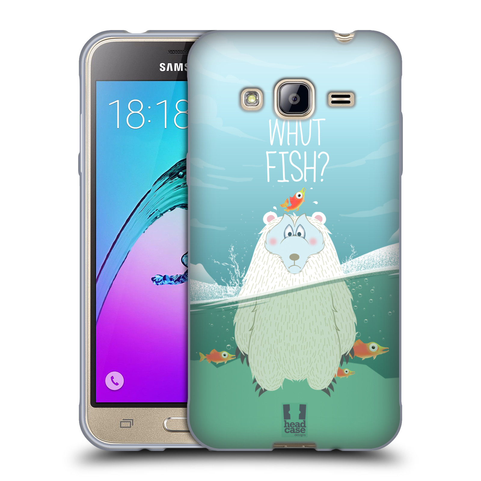 Silikonové pouzdro na mobil Samsung Galaxy J3 (2016) HEAD CASE Medvěd Whut Fish?