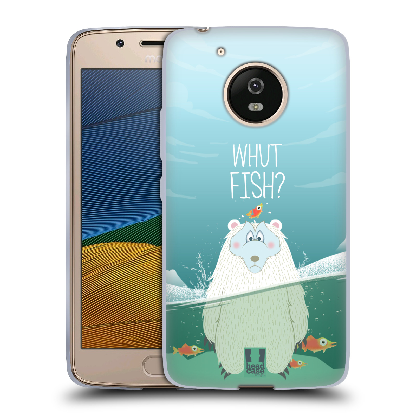 Silikonové pouzdro na mobil Lenovo Moto G5 - Head Case Medvěd Whut Fish?