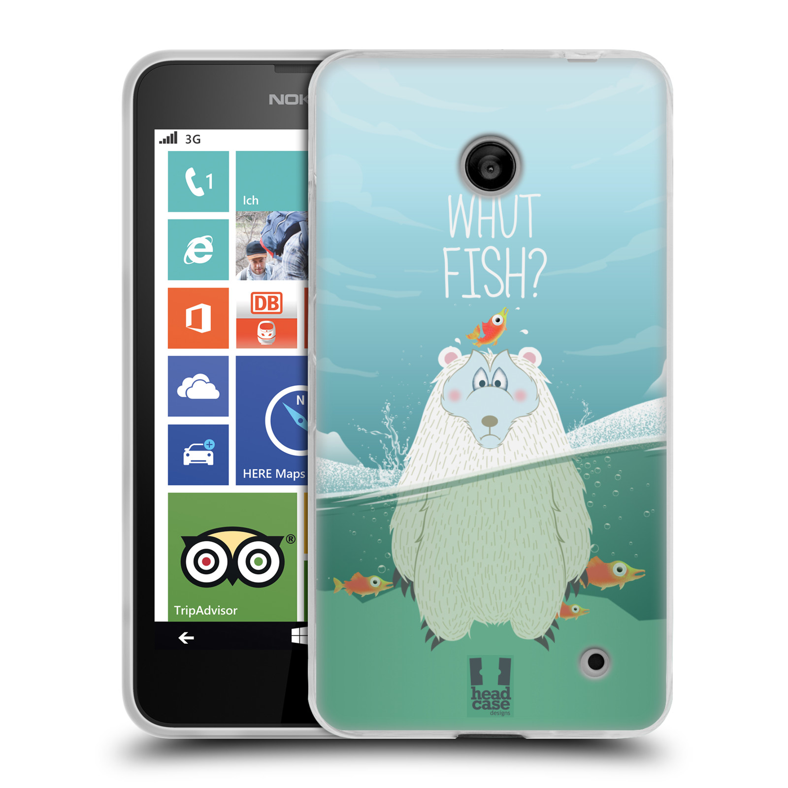 Silikonové pouzdro na mobil Nokia Lumia 635 HEAD CASE Medvěd Whut Fish? (Silikonový kryt či obal na mobilní telefon Nokia Lumia 635 Dual SIM)