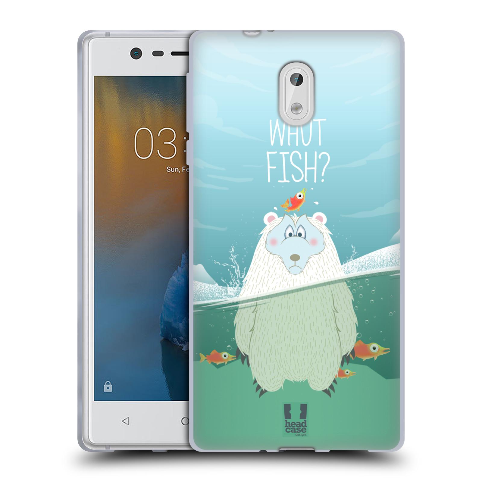 Silikonové pouzdro na mobil Nokia 3 Head Case - Medvěd Whut Fish?