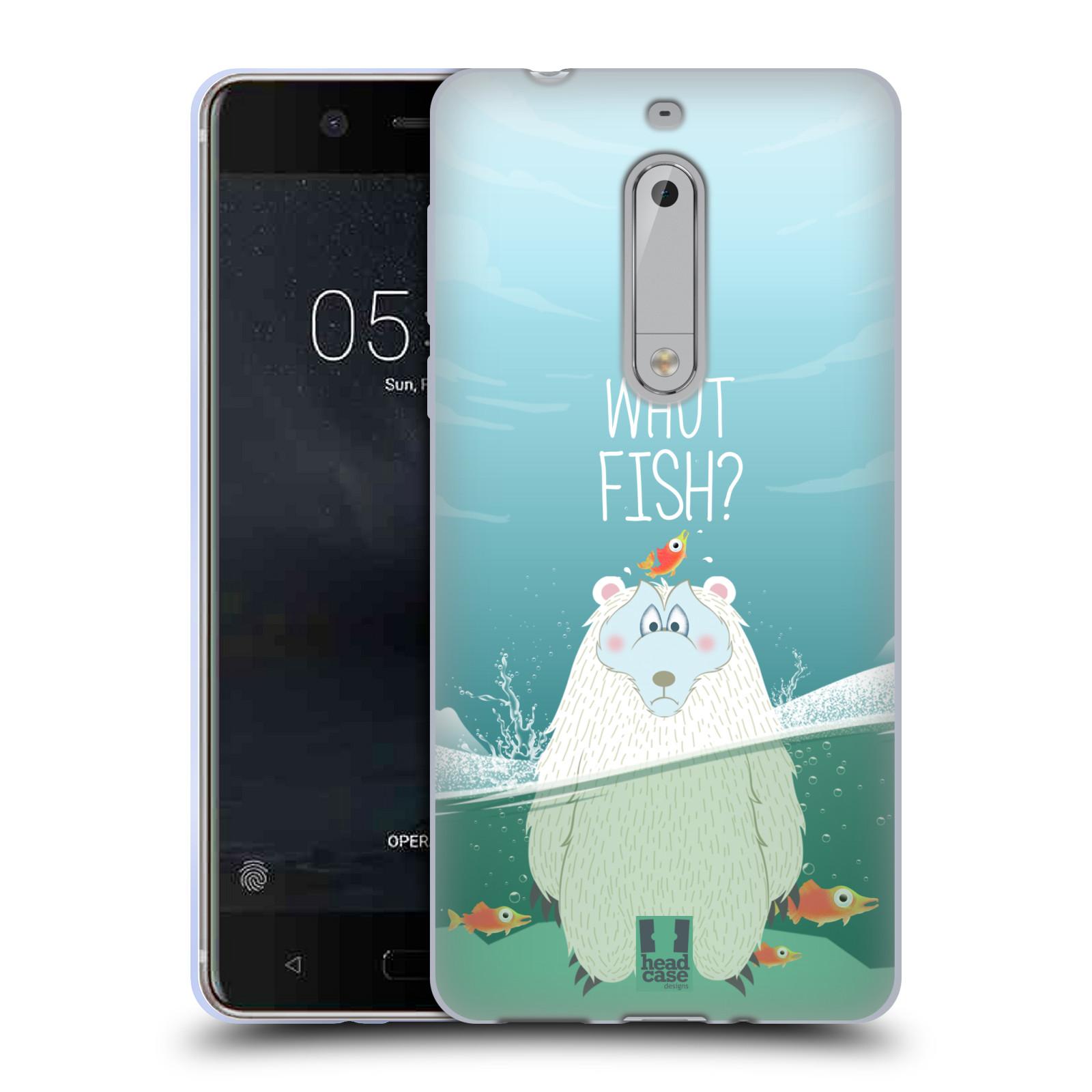 Silikonové pouzdro na mobil Nokia 5 Head Case - Medvěd Whut Fish?