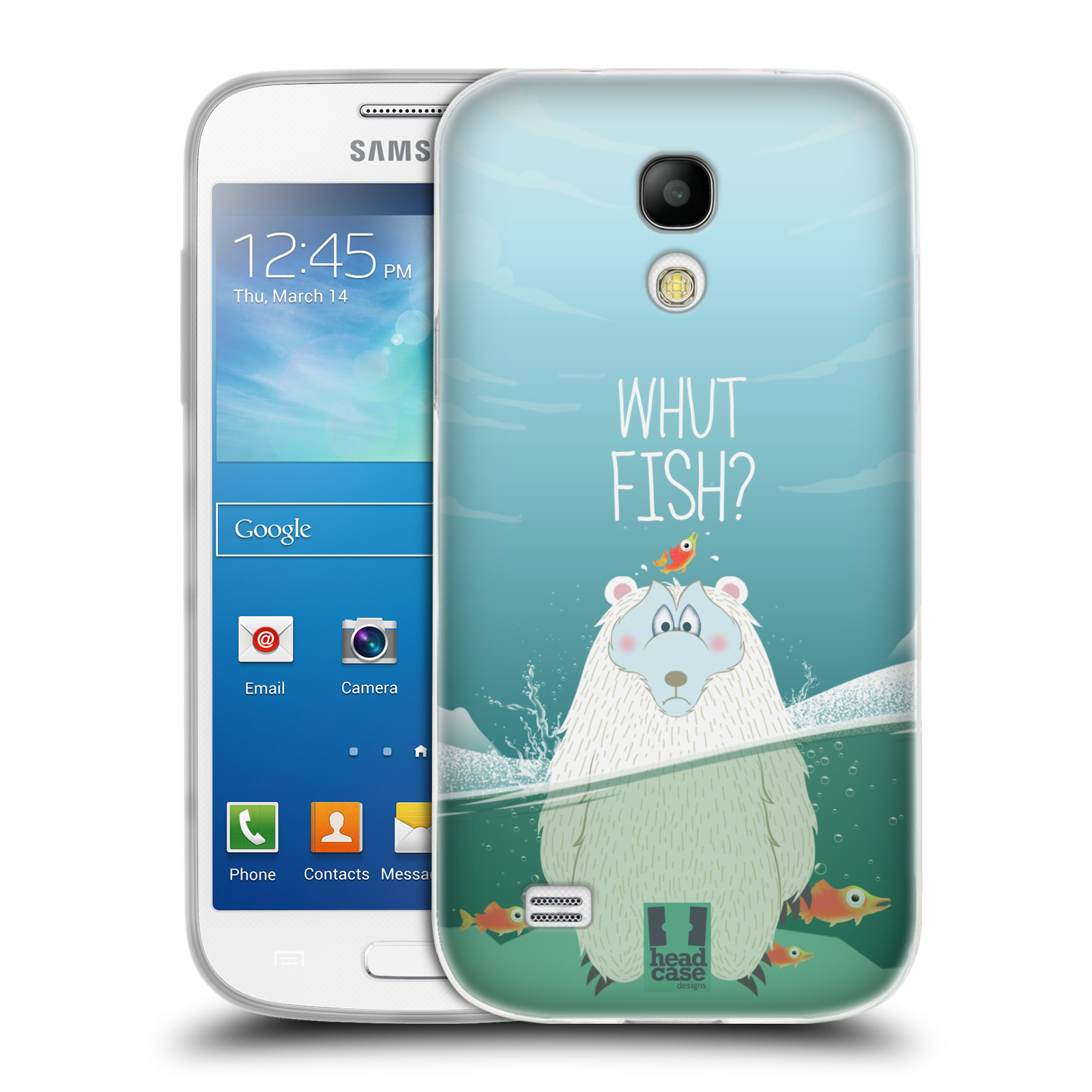 Silikonové pouzdro na mobil Samsung Galaxy S4 Mini HEAD CASE Medvěd Whut Fish?