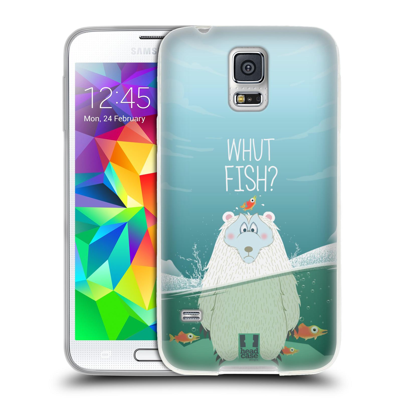 Silikonové pouzdro na mobil Samsung Galaxy S5 Neo HEAD CASE Medvěd Whut Fish?