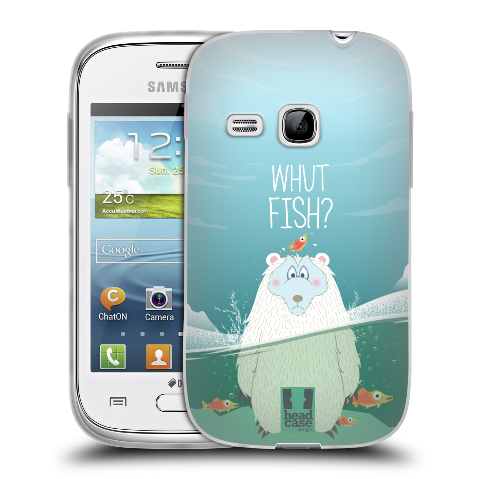 Silikonové pouzdro na mobil Samsung Galaxy Young HEAD CASE Medvěd Whut Fish? (Silikonový kryt či obal na mobilní telefon Samsung Galaxy Young GT-S6310)