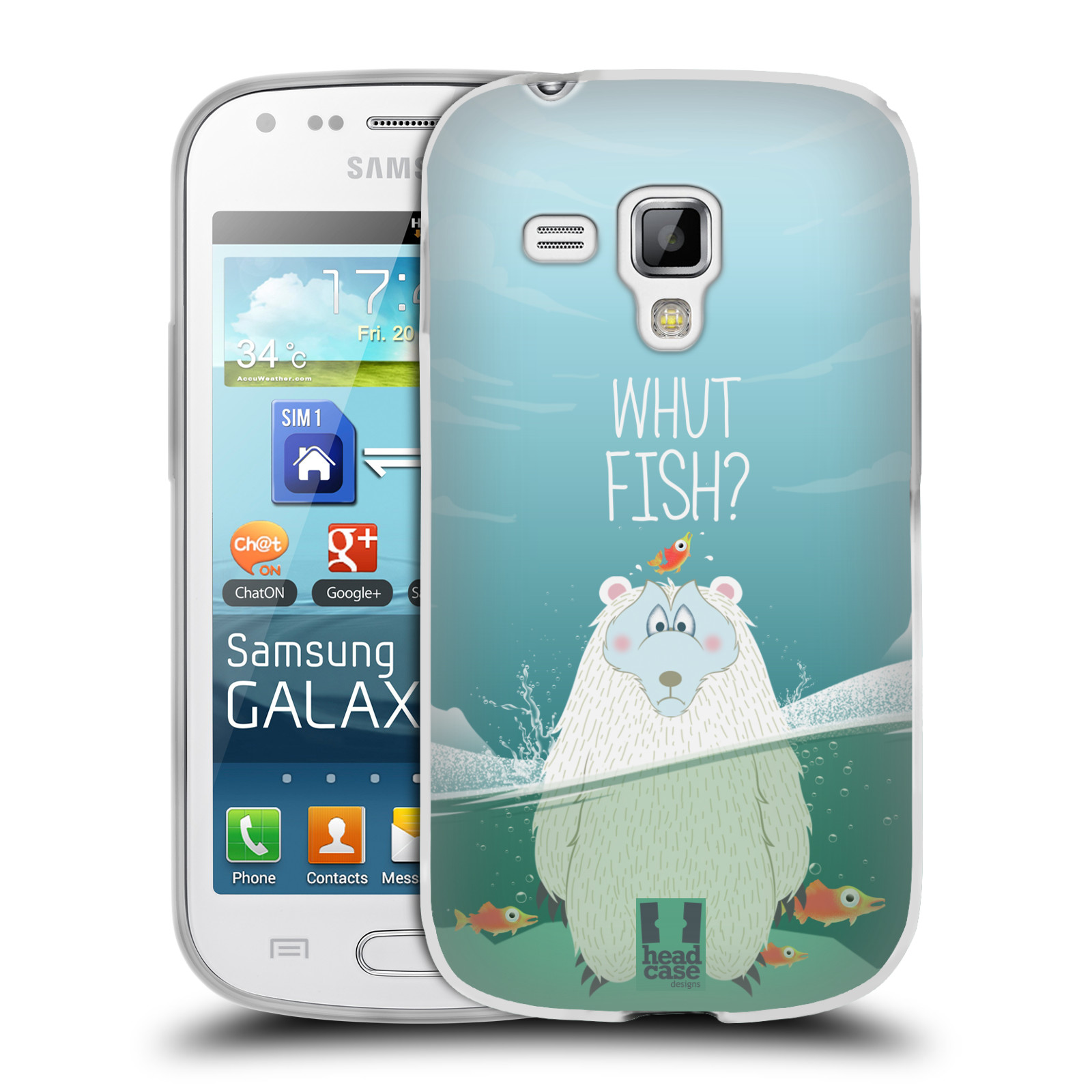 Silikonové pouzdro na mobil Samsung Galaxy S Duos HEAD CASE Medvěd Whut Fish? (Silikonový kryt či obal na mobilní telefon Samsung Galaxy S Duos GT-S7562)