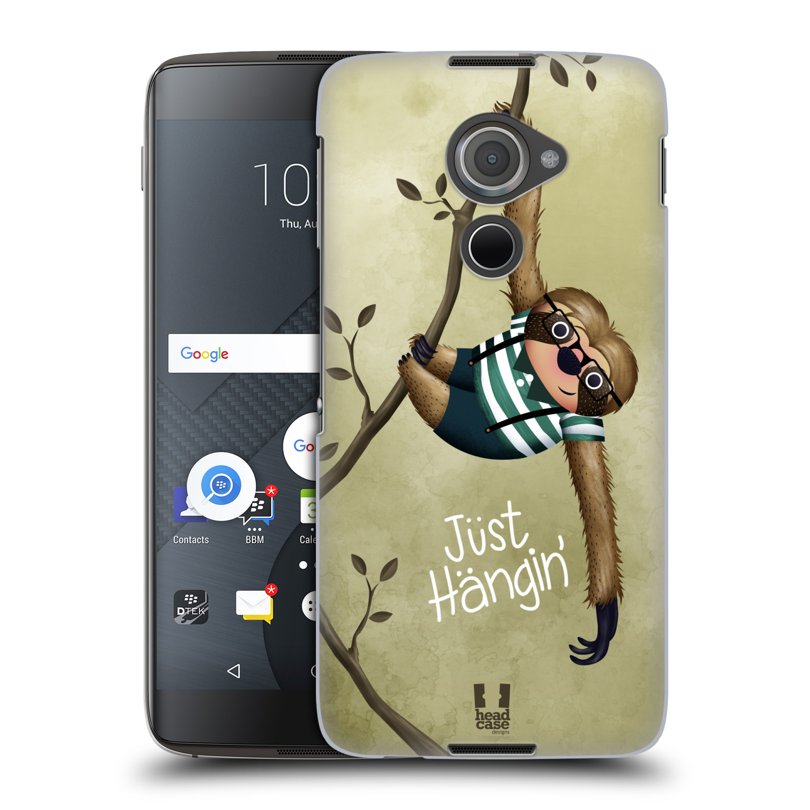 Plastové pouzdro na mobil Blackberry DTEK60 (Argon) - Head Case Lenochod Just Hangin