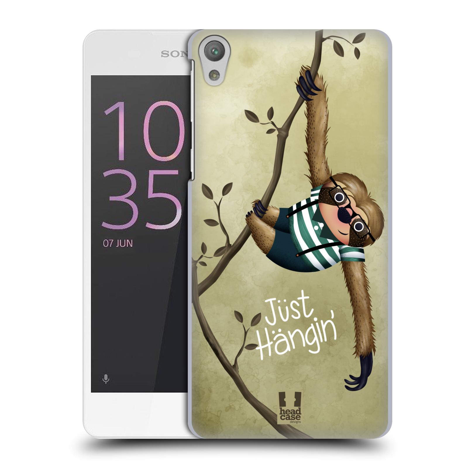 Plastové pouzdro na mobil Sony Xperia E5 HEAD CASE Lenochod Just Hangin