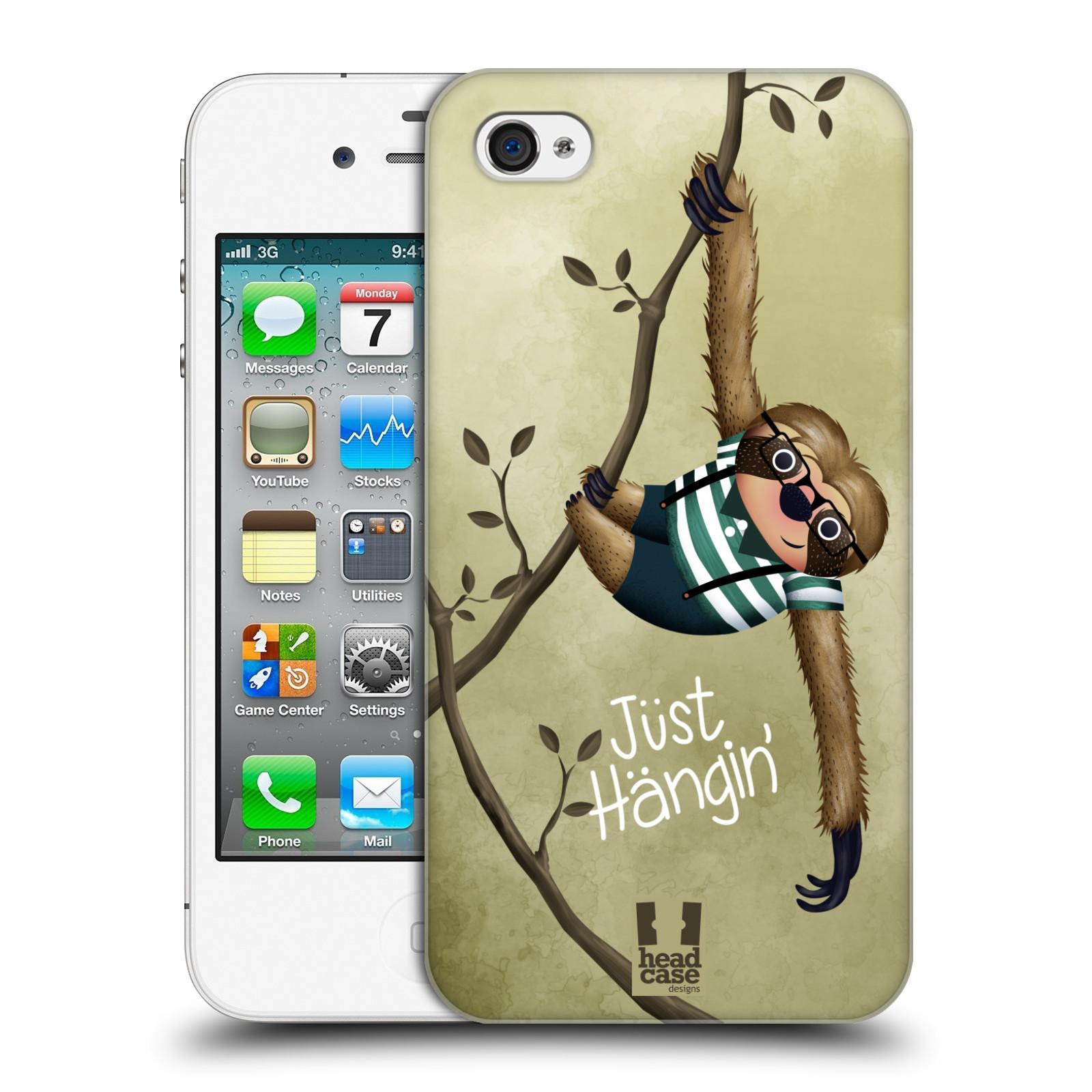 Plastové pouzdro na mobil Apple iPhone 4 a 4S HEAD CASE Lenochod Just Hangin