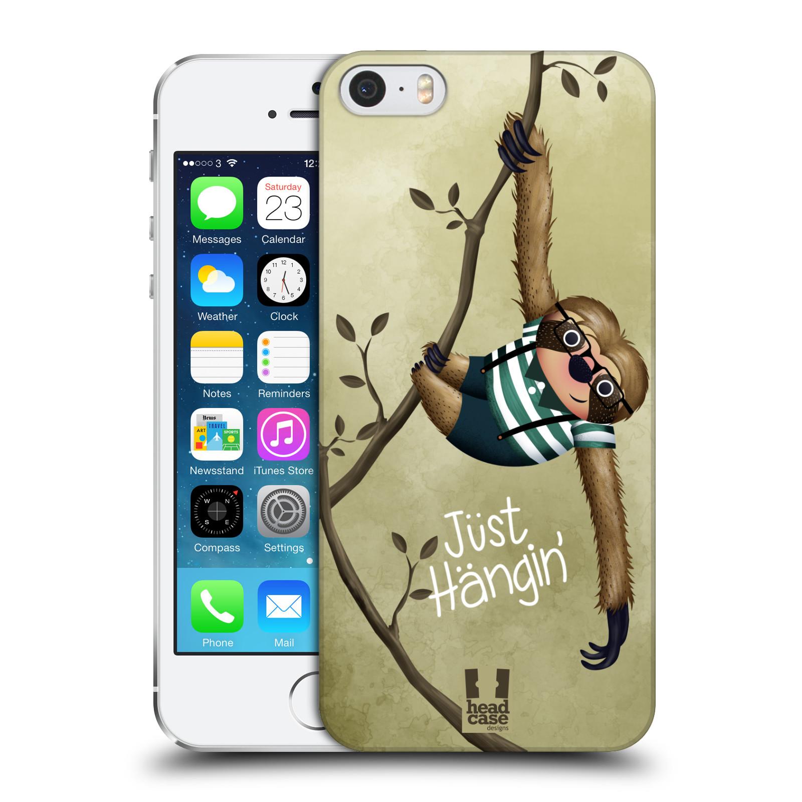 Plastové pouzdro na mobil Apple iPhone SE, 5 a 5S HEAD CASE Lenochod Just Hangin