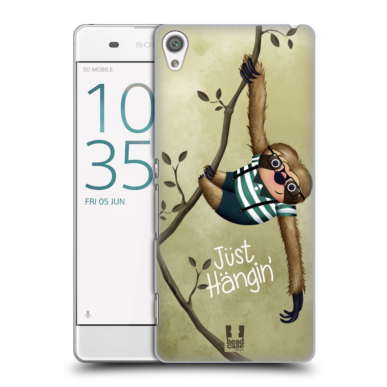 Plastové pouzdro na mobil Sony Xperia XA HEAD CASE Lenochod Just Hangin