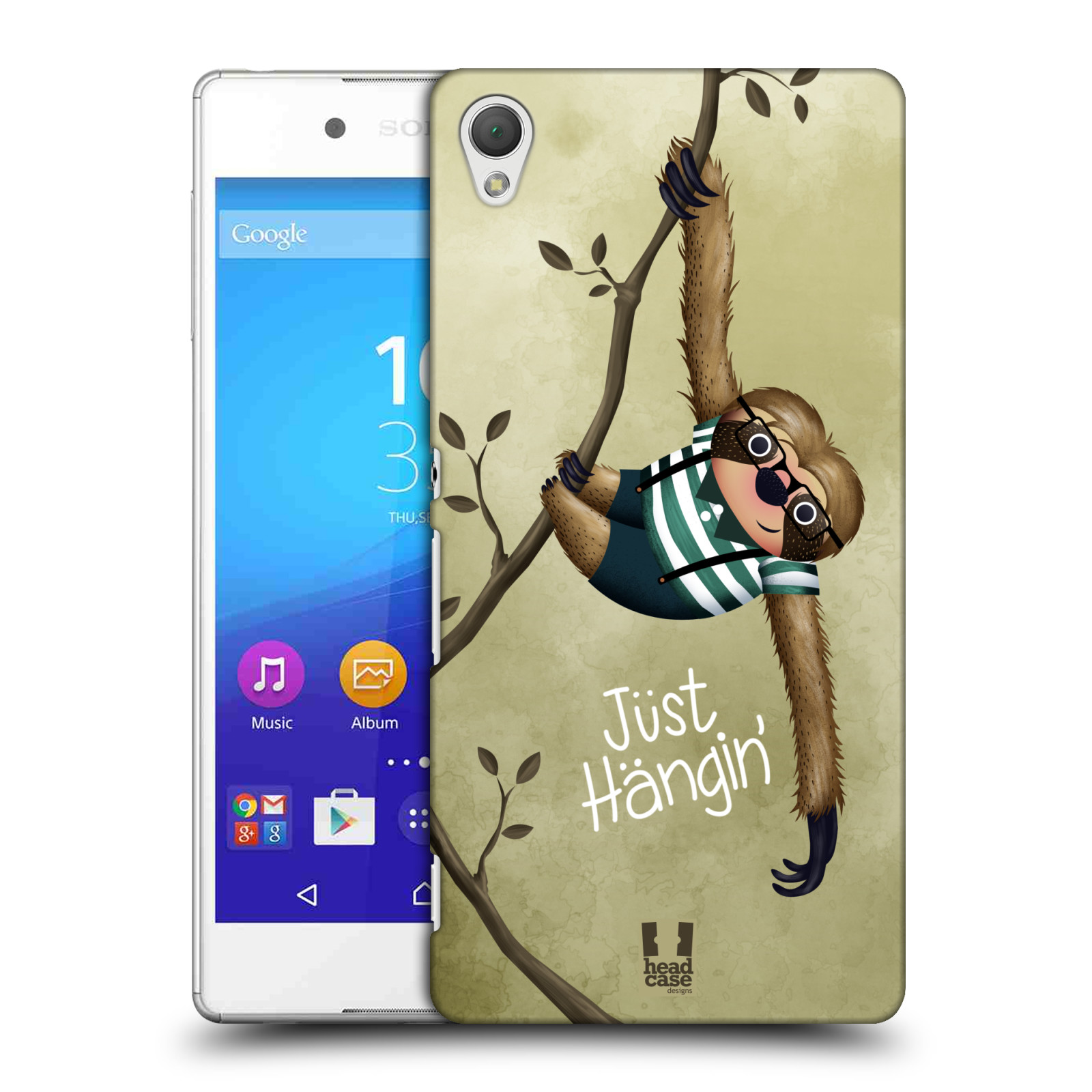 Plastové pouzdro na mobil Sony Xperia Z3+ (Plus) HEAD CASE Lenochod Just Hangin (Kryt či obal na mobilní telefon Sony Xperia Z3+ a Sony Xperia Z4 )