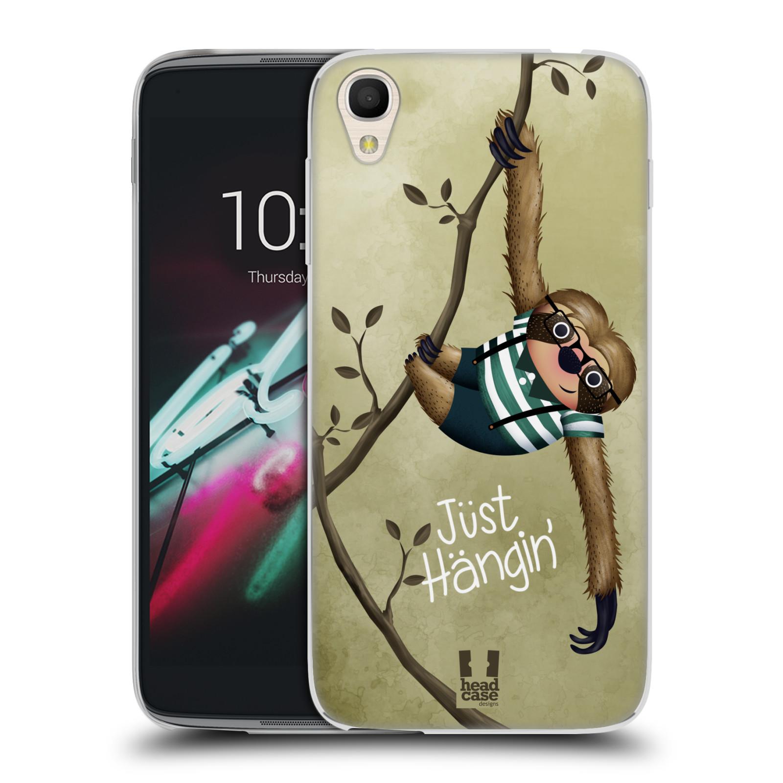 "Silikonové pouzdro na mobil Alcatel One Touch 6039Y Idol 3 HEAD CASE Lenochod Just Hangin (Silikonový kryt či obal na mobilní telefon Alcatel One Touch Idol 3 OT-6039Y s 4,7"" displejem)"