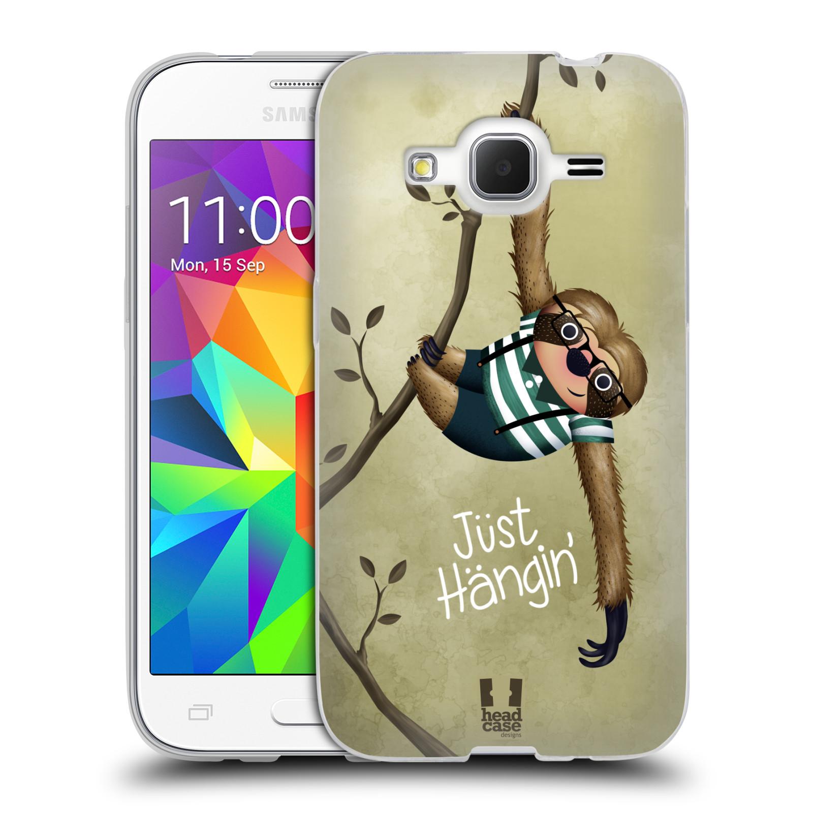 Silikonové pouzdro na mobil Samsung Galaxy Core Prime LTE HEAD CASE Lenochod Just Hangin