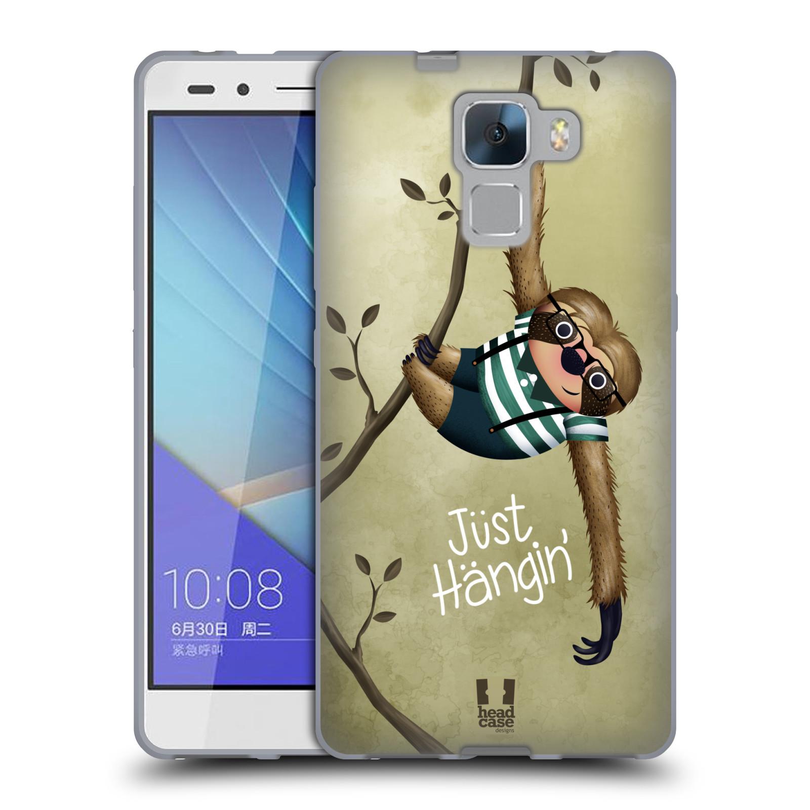 Silikonové pouzdro na mobil Honor 7 HEAD CASE Lenochod Just Hangin