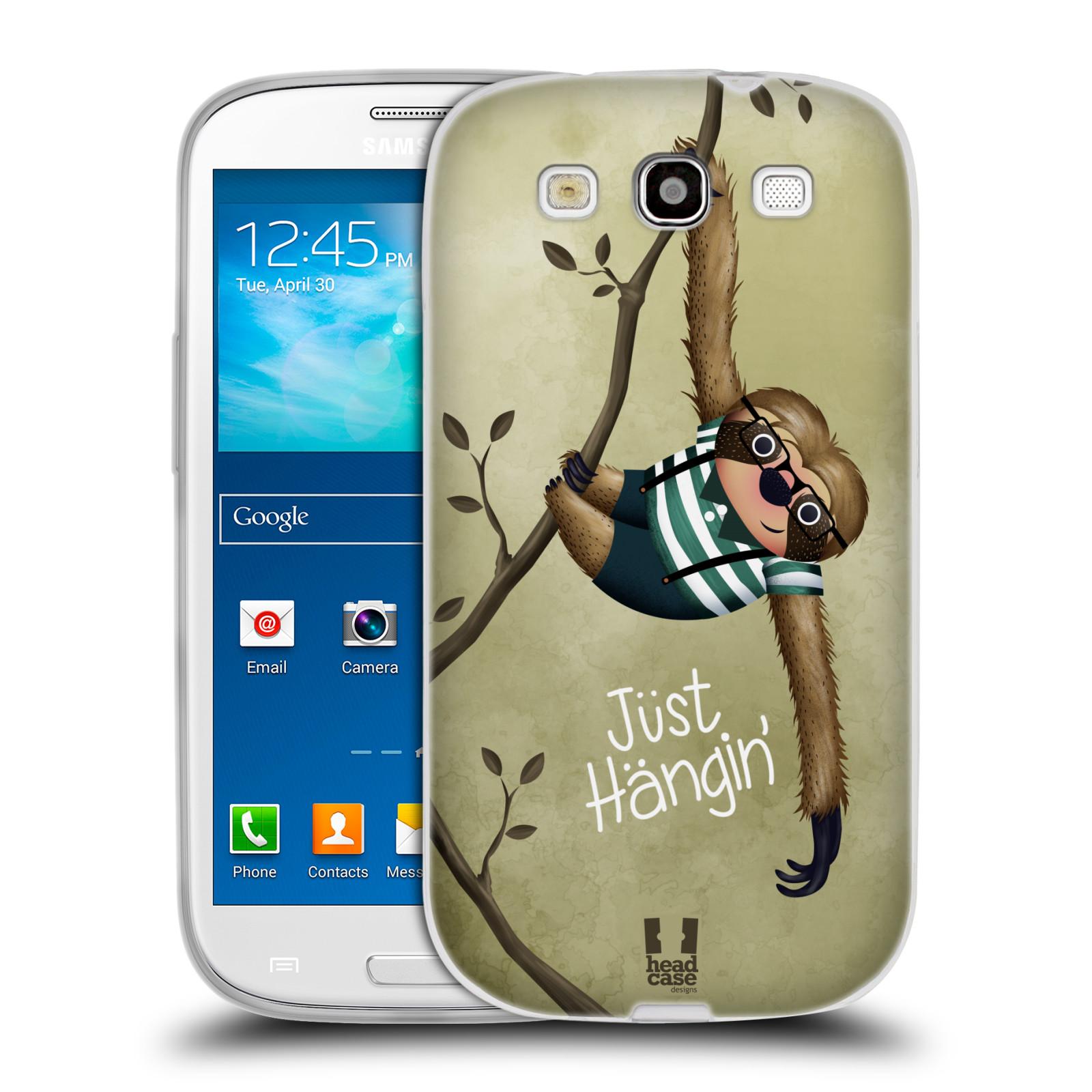 Silikonové pouzdro na mobil Samsung Galaxy S III HEAD CASE Lenochod Just Hangin
