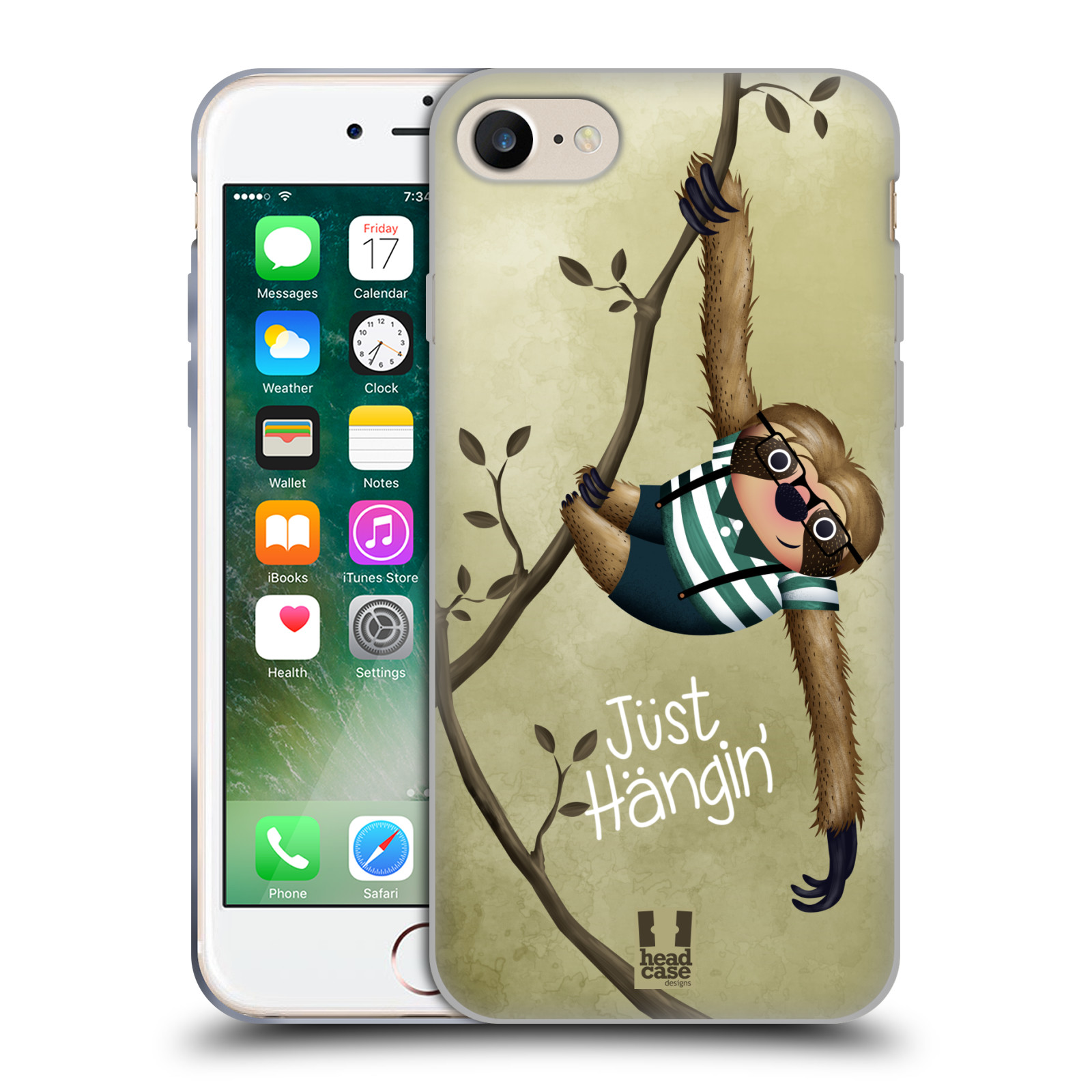 Silikonové pouzdro na mobil Apple iPhone 8 - Head Case - Lenochod Just Hangin