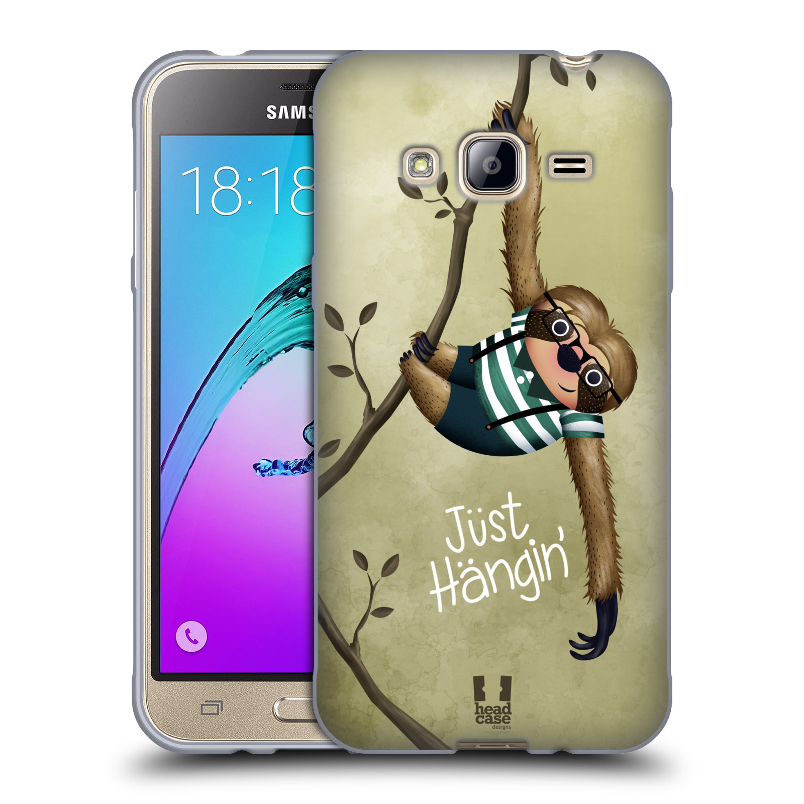 Silikonové pouzdro na mobil Samsung Galaxy J3 (2016) HEAD CASE Lenochod Just Hangin