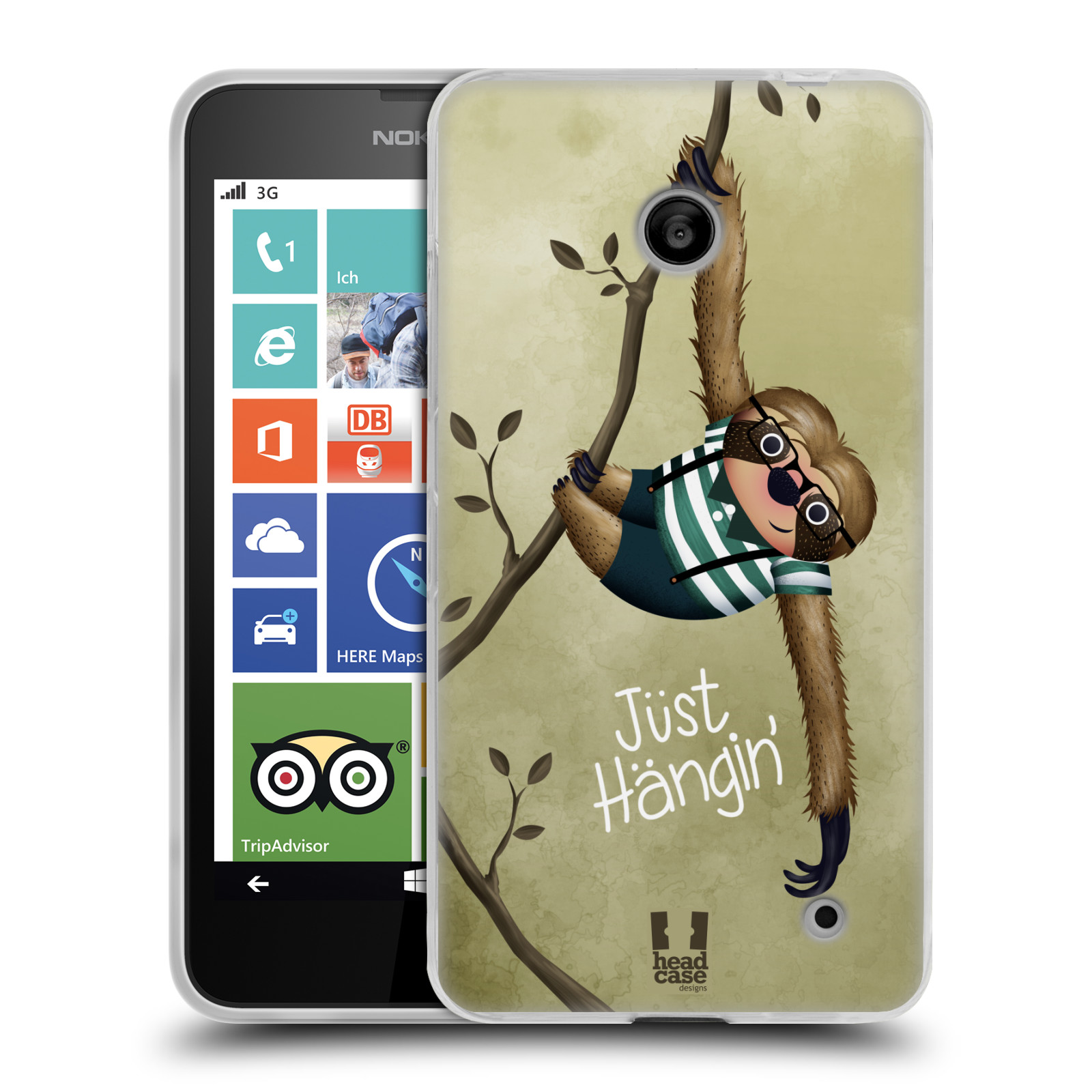 Silikonové pouzdro na mobil Nokia Lumia 630 HEAD CASE Lenochod Just Hangin (Silikonový kryt či obal na mobilní telefon Nokia Lumia 630 a Nokia Lumia 630 Dual SIM)