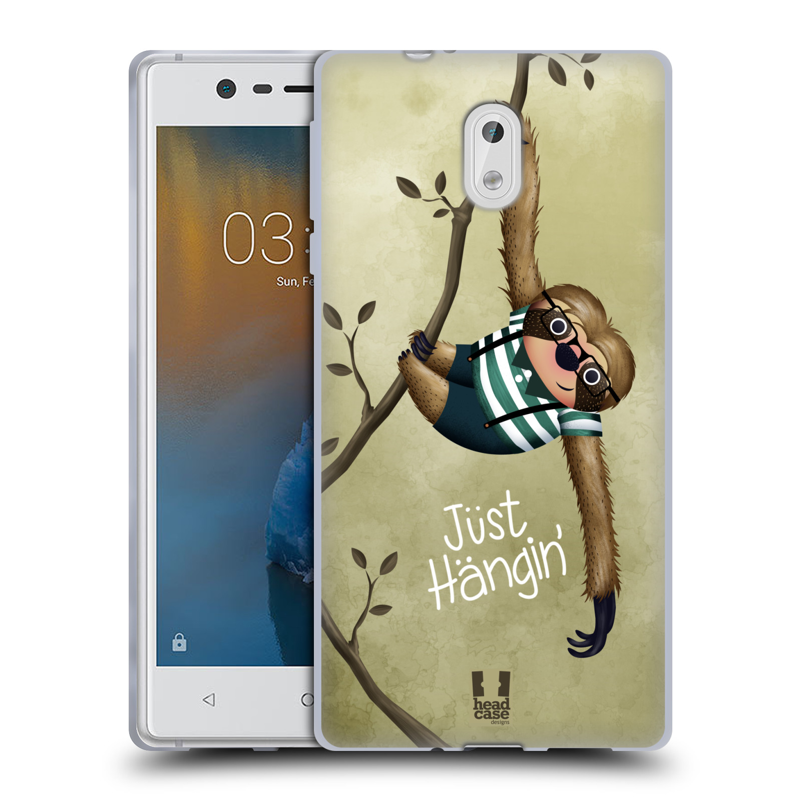 Silikonové pouzdro na mobil Nokia 3 Head Case - Lenochod Just Hangin