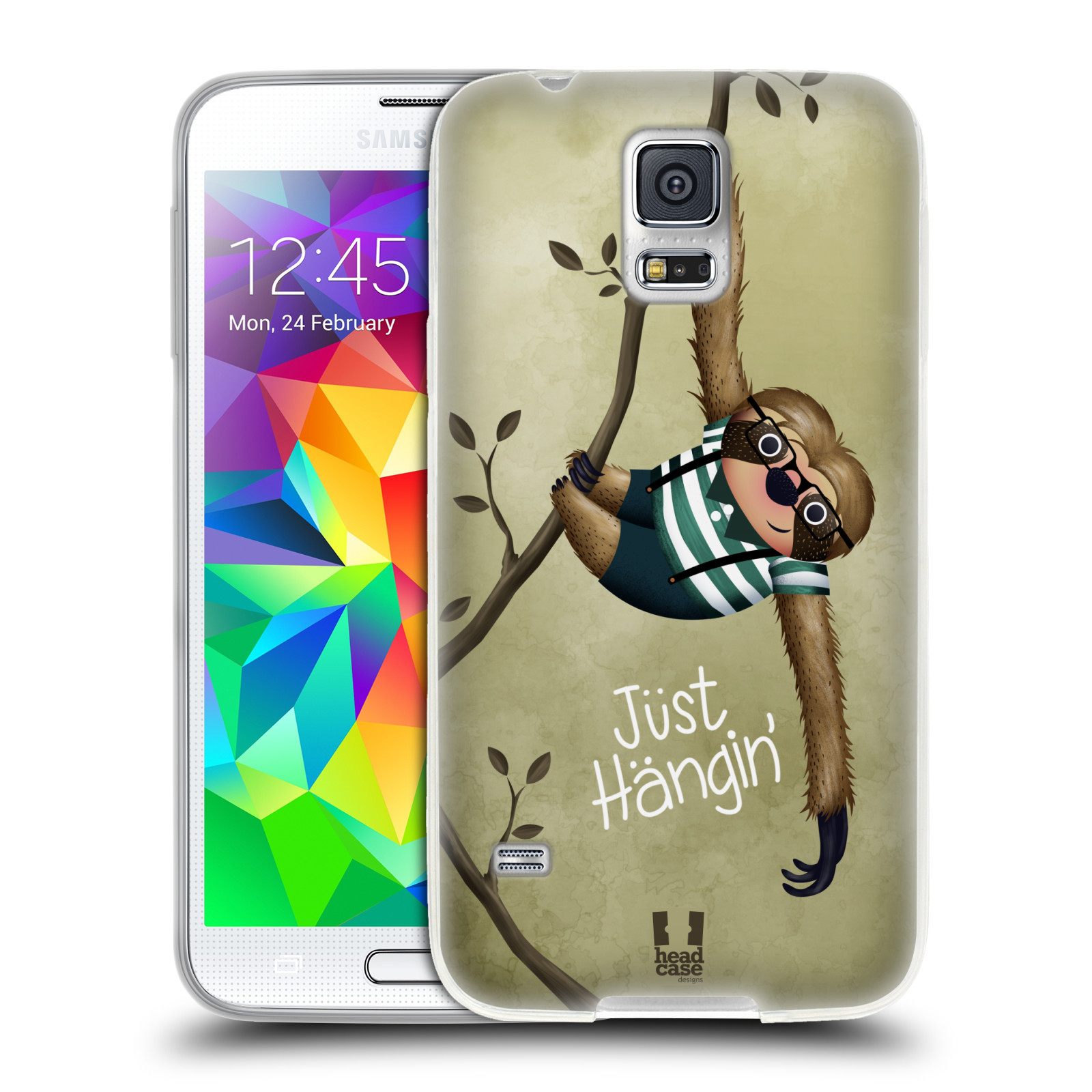 Silikonové pouzdro na mobil Samsung Galaxy S5 Neo HEAD CASE Lenochod Just Hangin