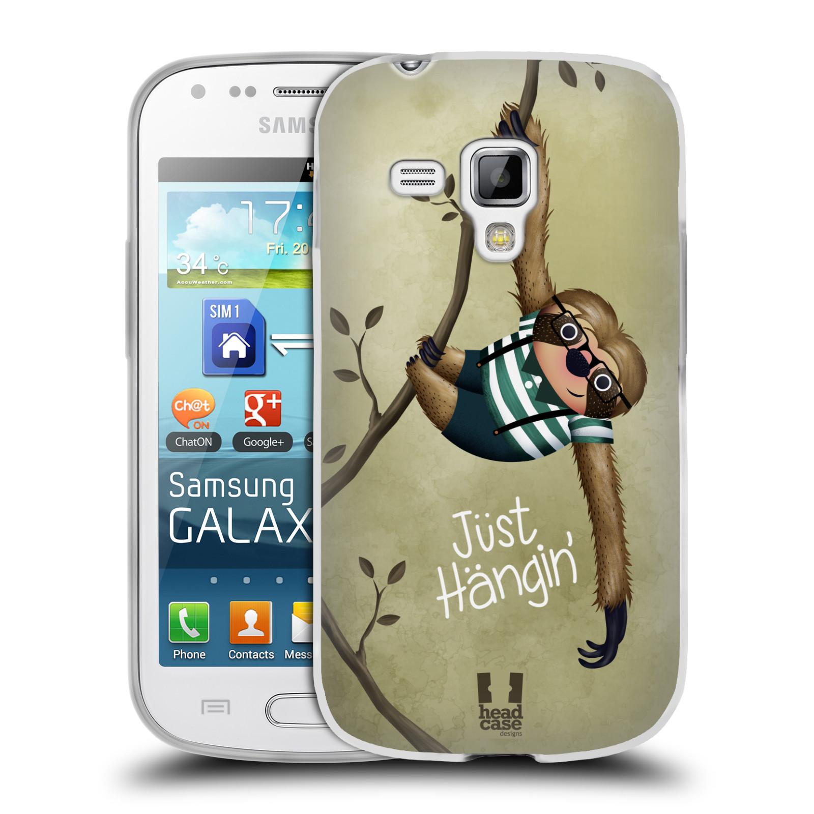 Silikonové pouzdro na mobil Samsung Galaxy S Duos HEAD CASE Lenochod Just Hangin (Silikonový kryt či obal na mobilní telefon Samsung Galaxy S Duos GT-S7562)