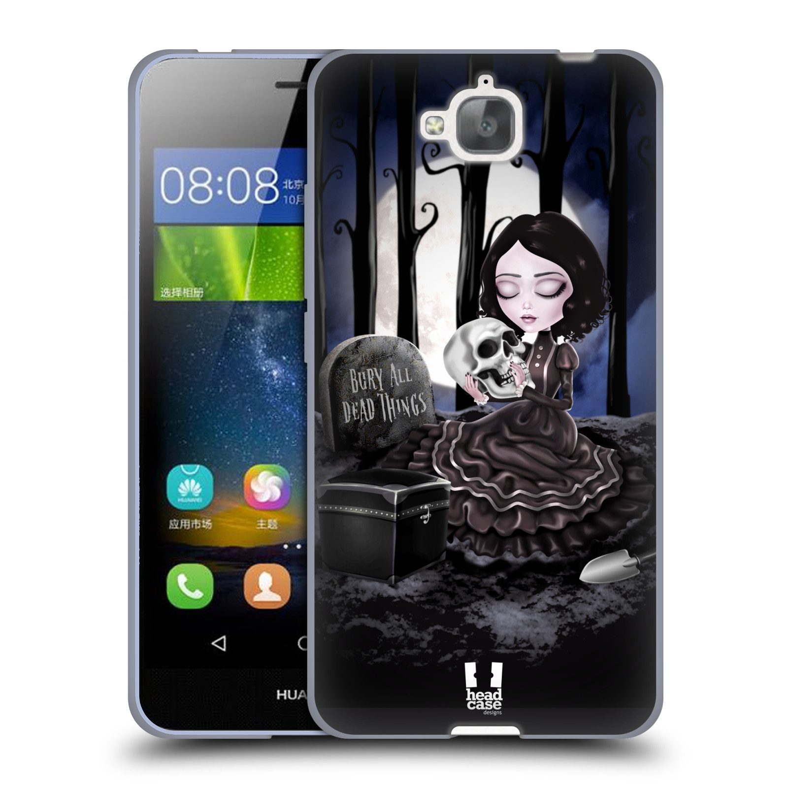 Silikonové pouzdro na mobil Huawei Y6 Pro Dual Sim HEAD CASE MACABRE HŘBITOV